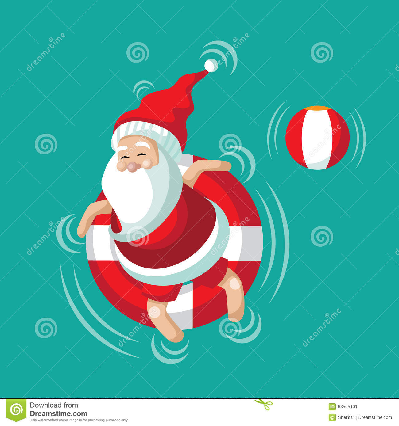 Cartoon Santa Relaxing In An Inner Tube Stock Vector