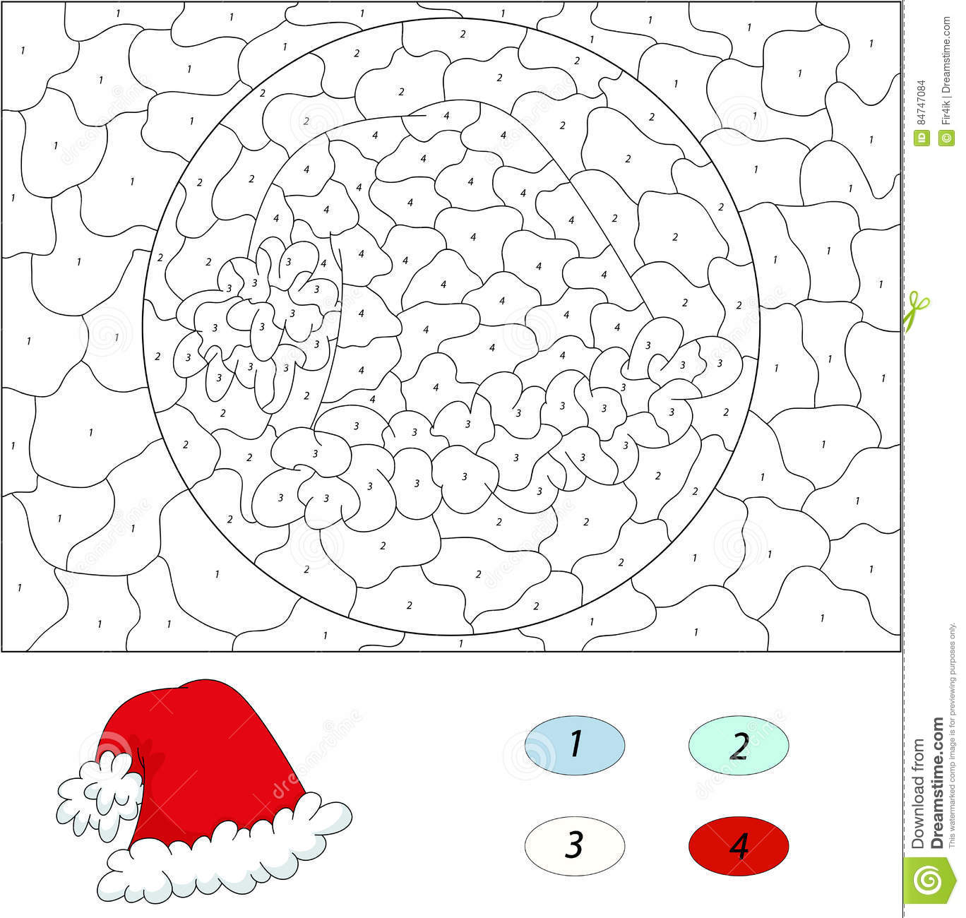 Cartoon Santa`s Hat. Color By Number Educational Game For Kids Stock ...