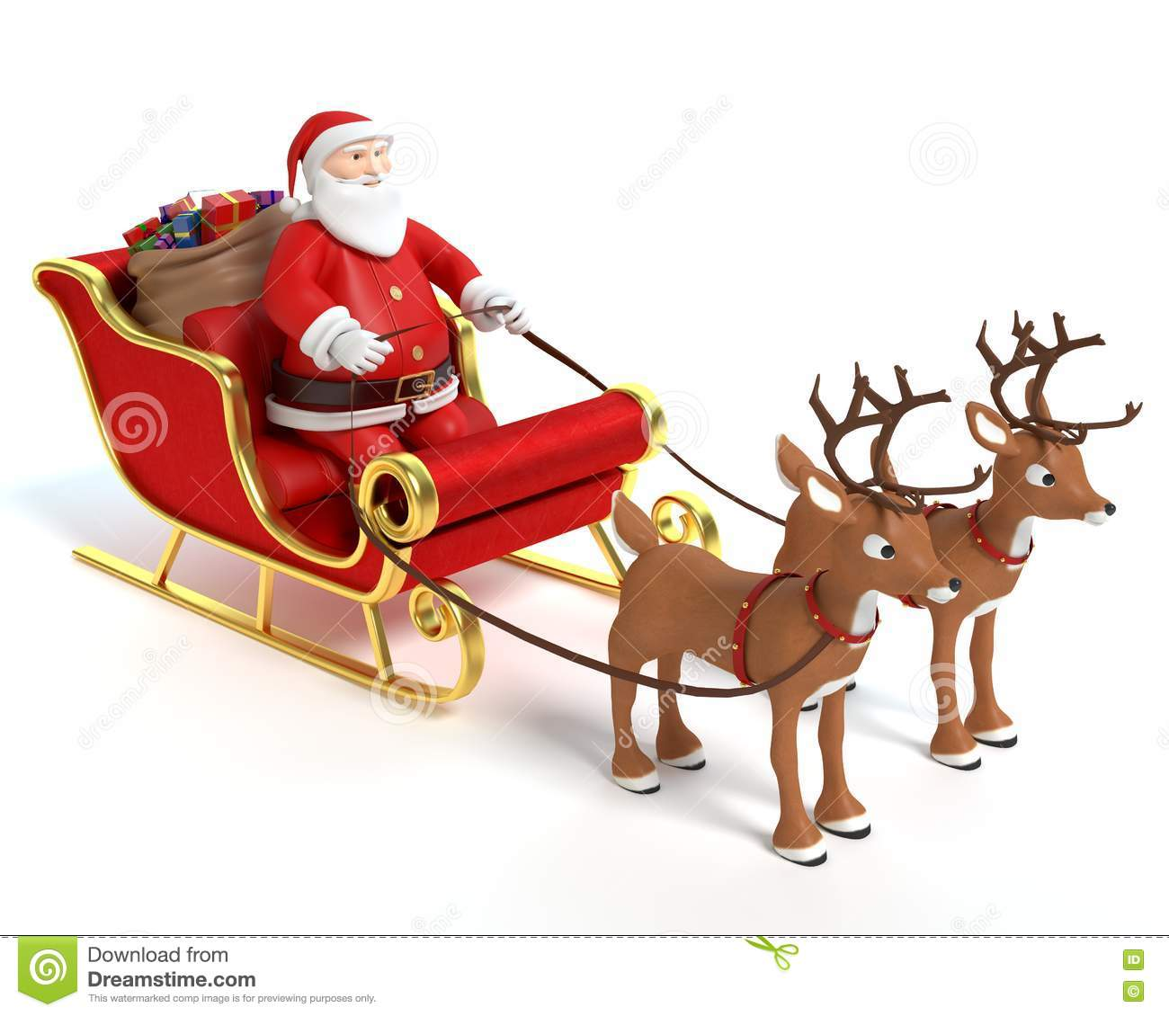 cartoon santa sleigh and reindeer stock illustration illustration