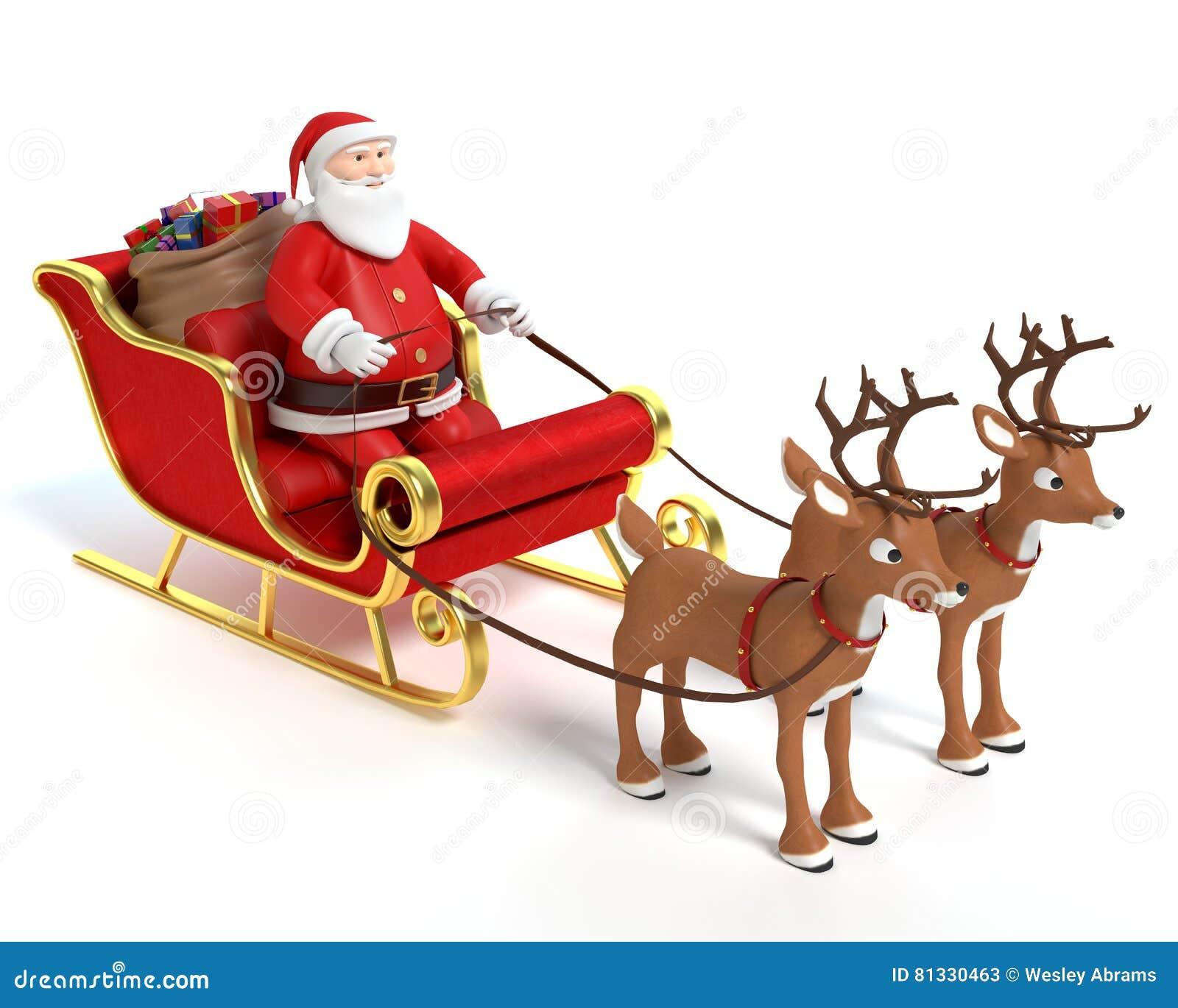 santas sleigh reindeer