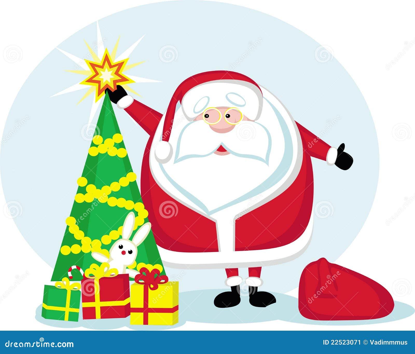 Christmas Toys Cartoon : Cartoon santa star christmas tree and gifts stock vector