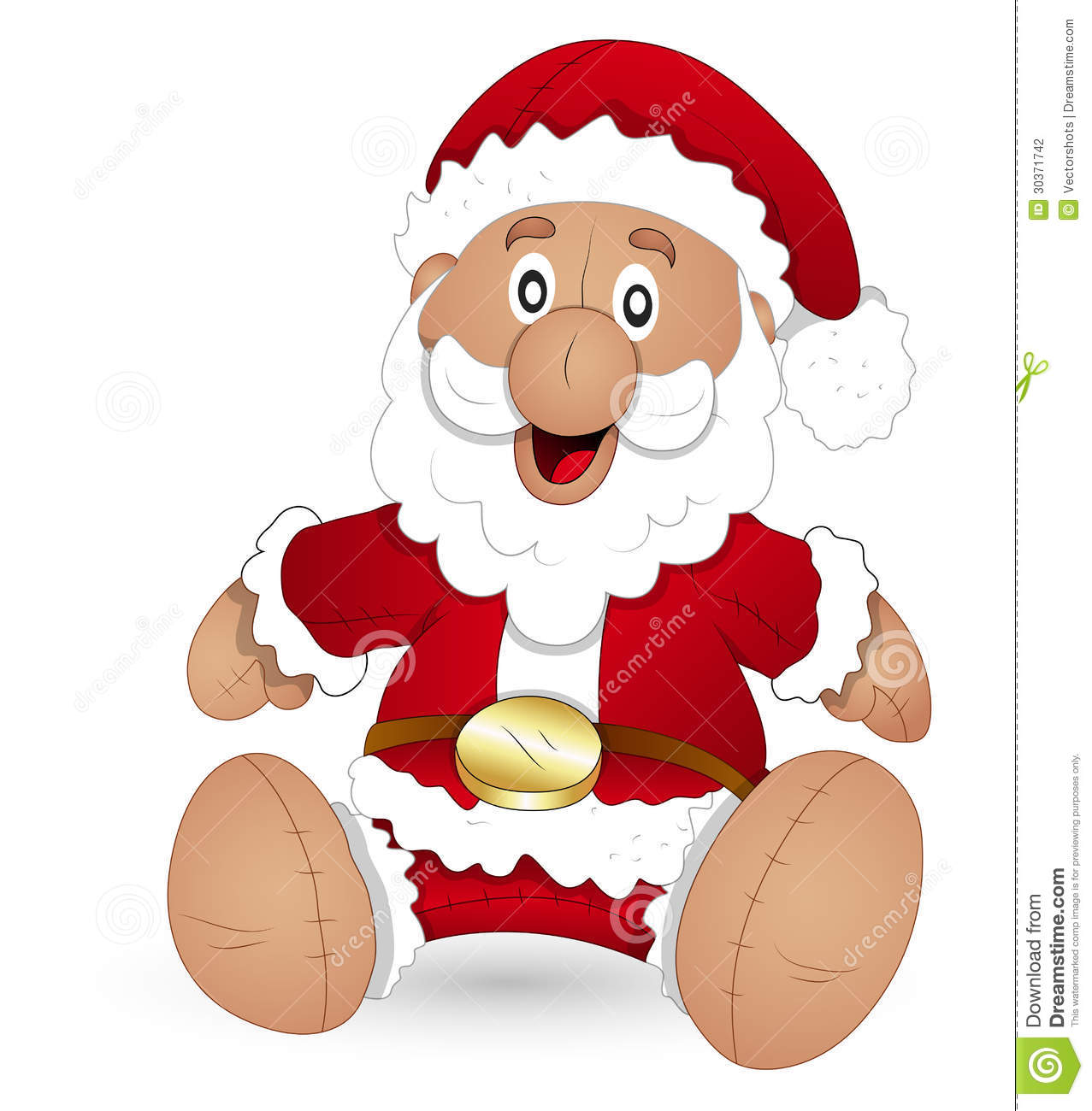 Christmas Toys Cartoon : Cartoon santa stuffed toy christmas vector illustration