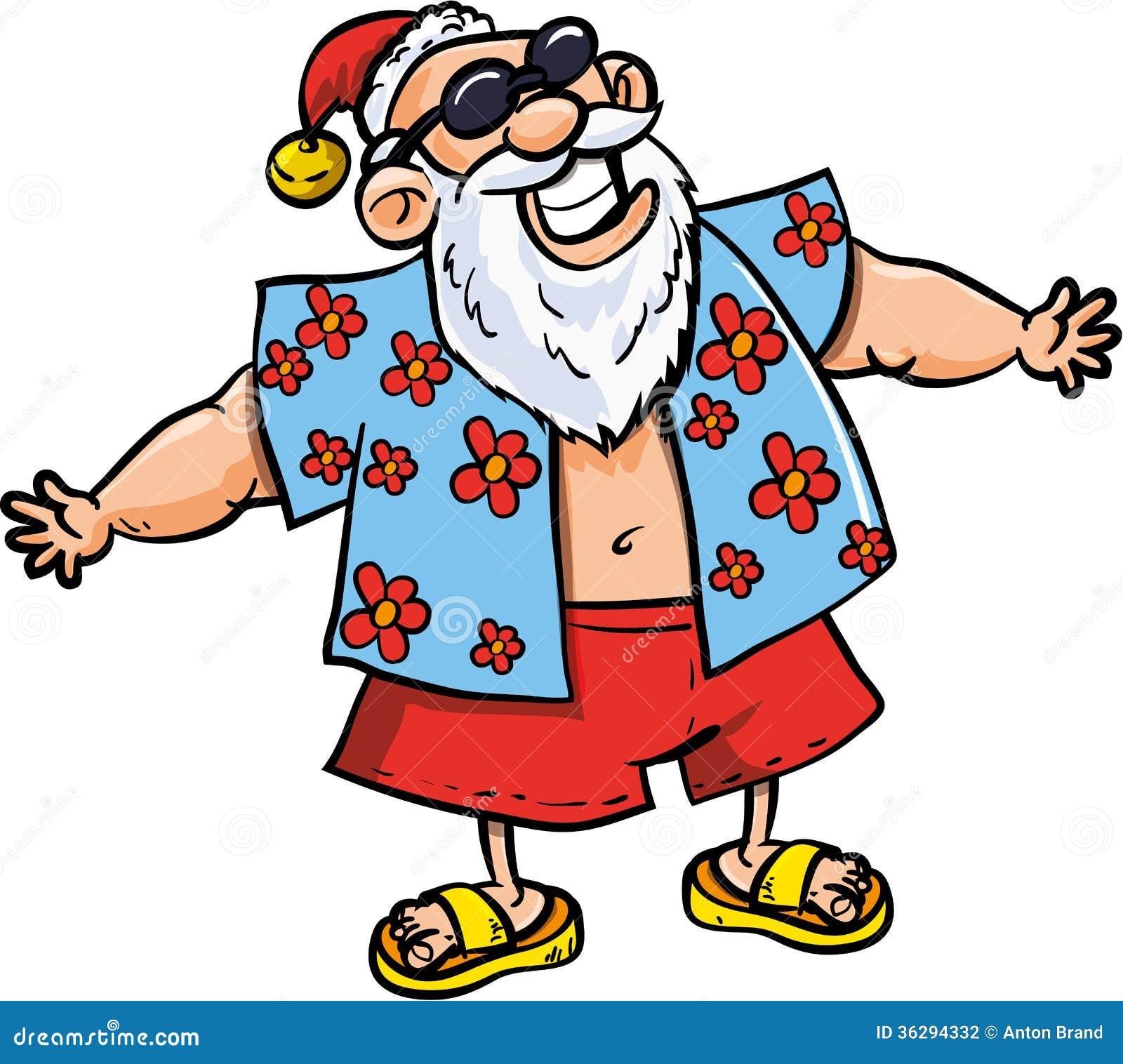 Cartoon Santa on vacation stock vector. Illustration of ... (1300 x 1248 Pixel)