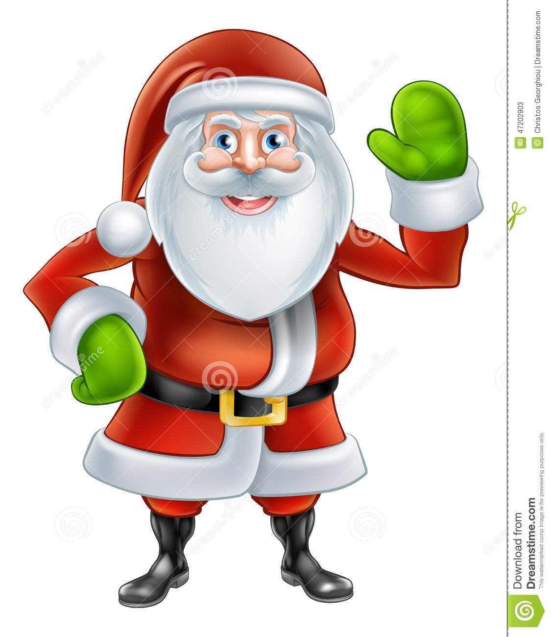 Cartoon santa waving stock vector illustration of claws