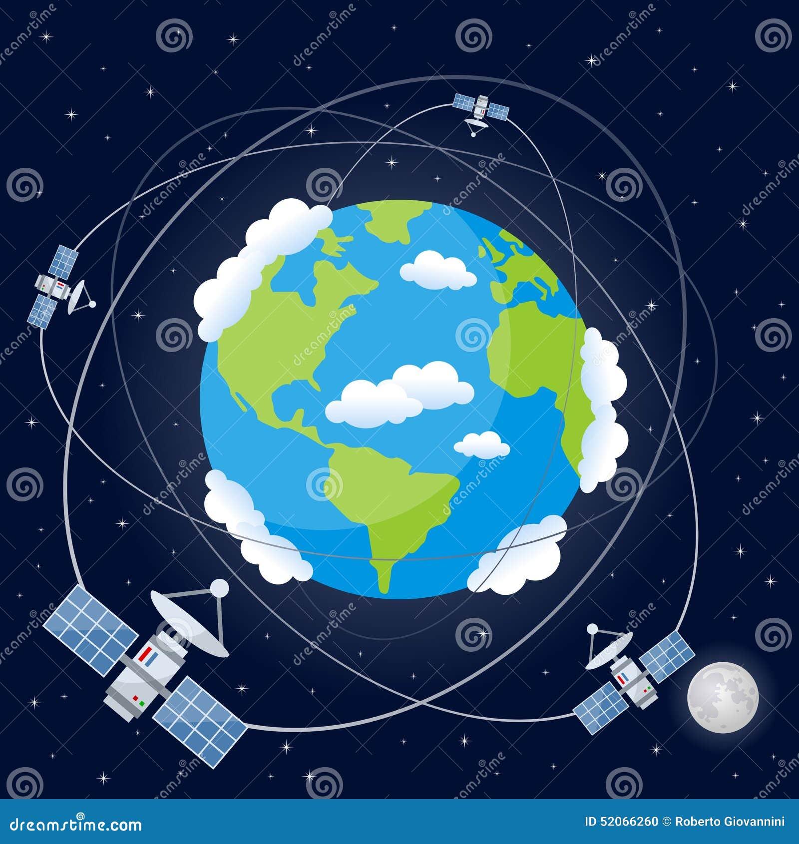 Cartoon Satellites Orbiting The Earth Stock Vector Image