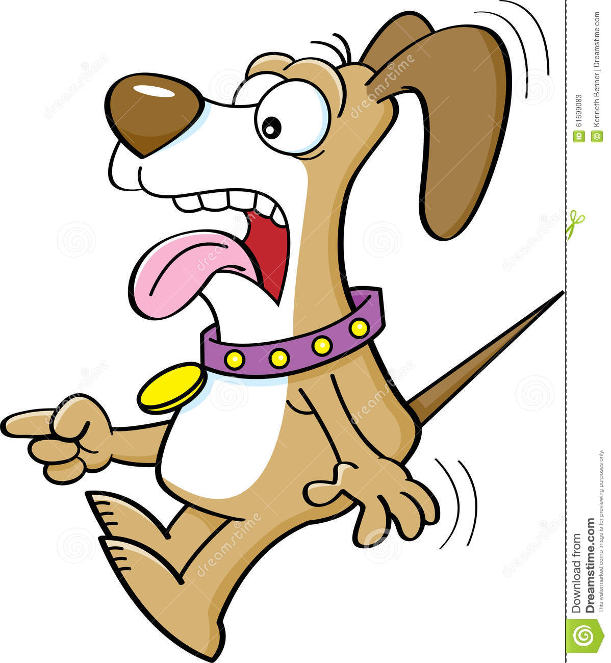 Cartoon Scared Dog Pointing. Stock Vector - Image: 61699083