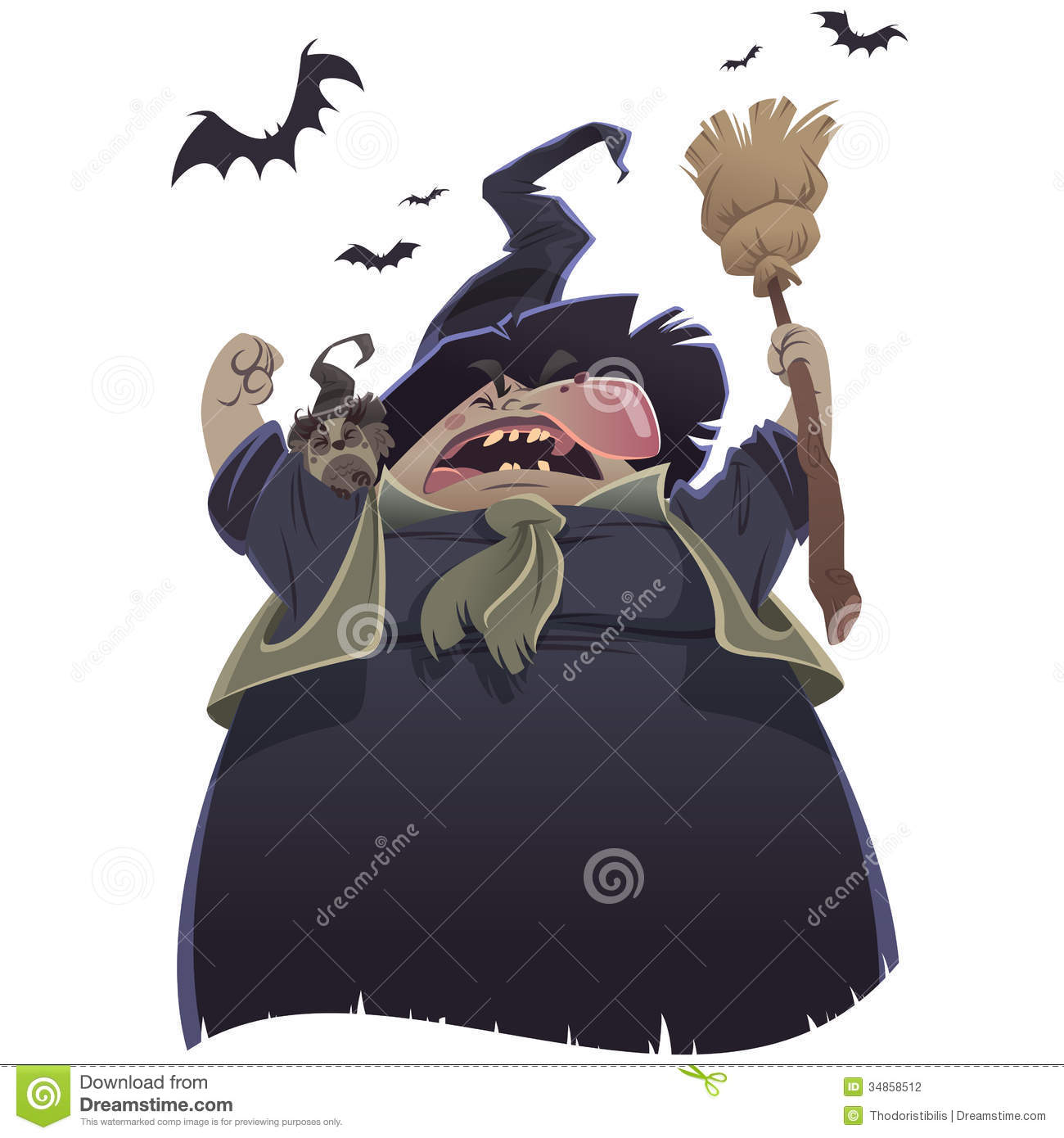 Scary witches cartoon