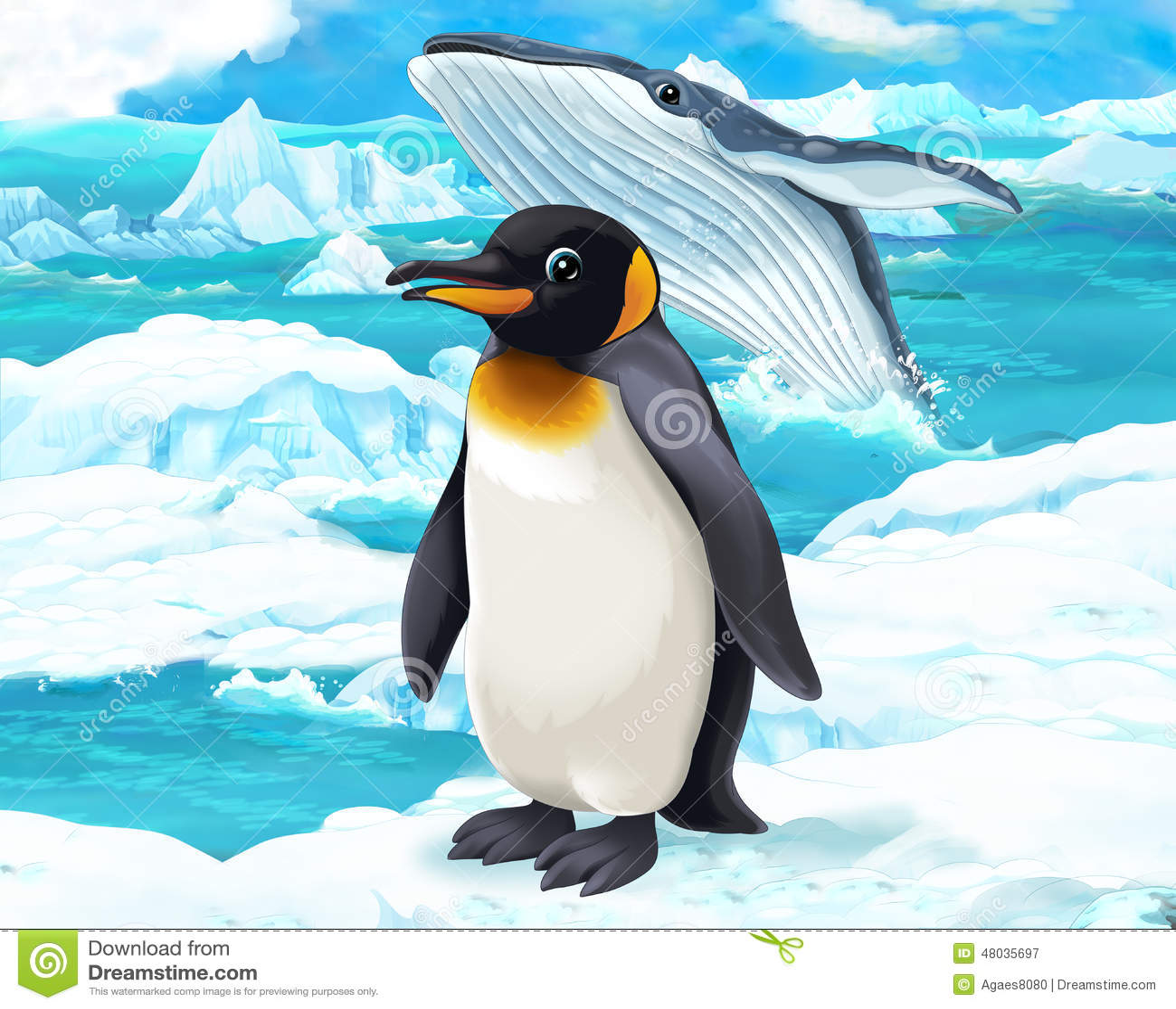 cartoon scene - arctic animals - penguin and whale stock illustration