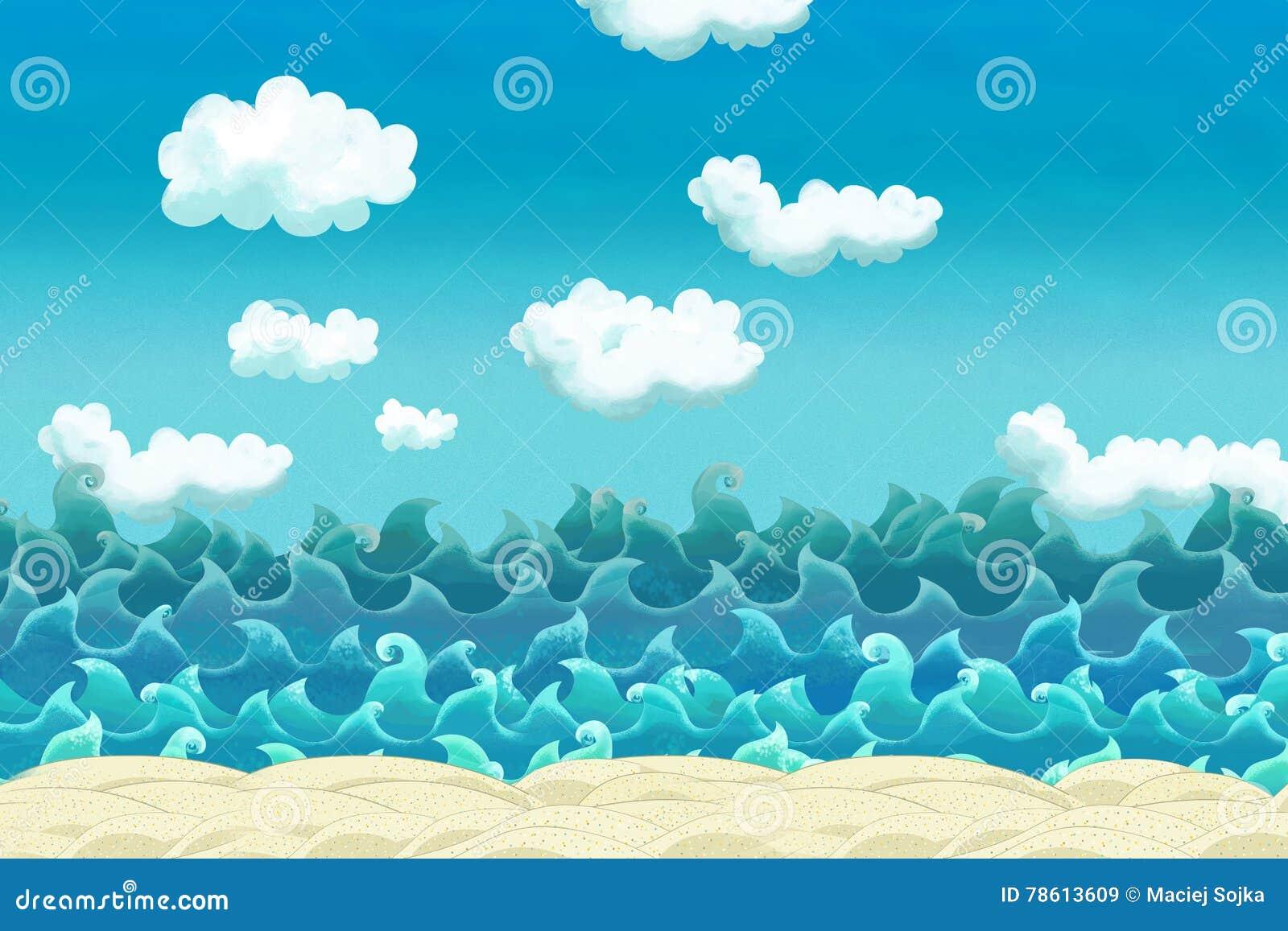 Cartoon scene of beach near the sea or ocean