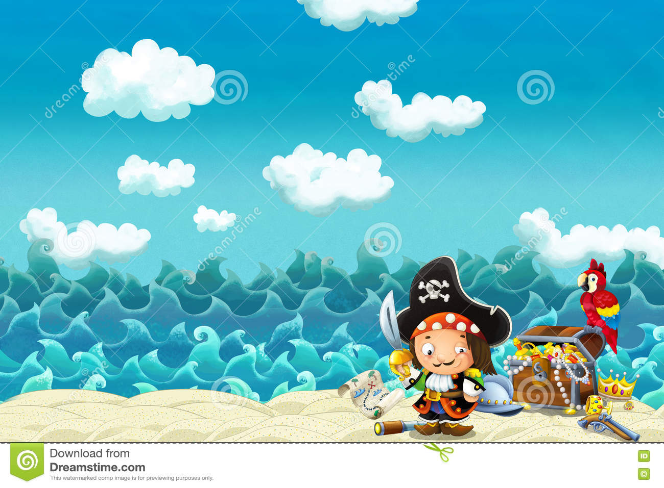 Cartoon scene of beach near the sea or ocean