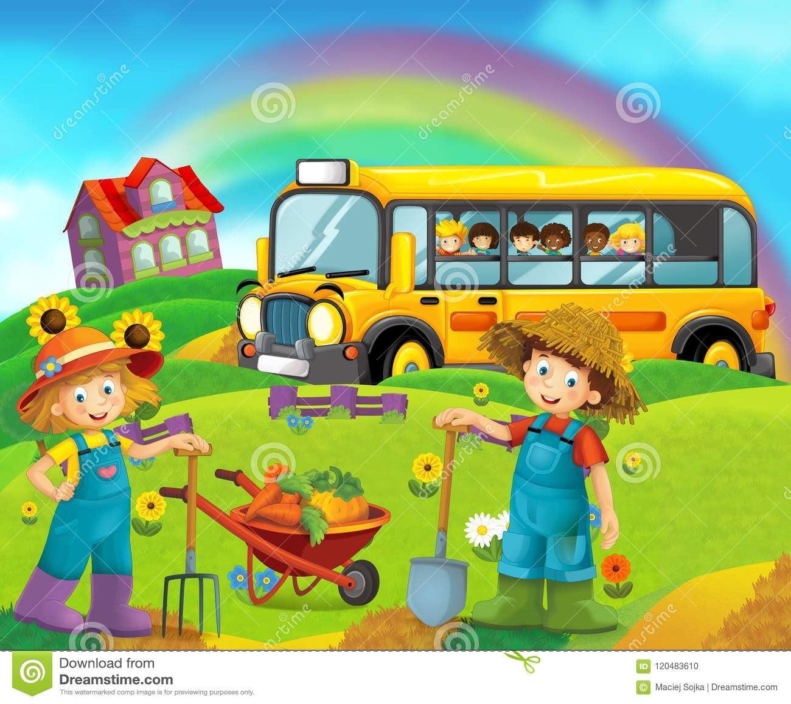 Cartoon Scene With Children On The Farm Having Fun And School Bus