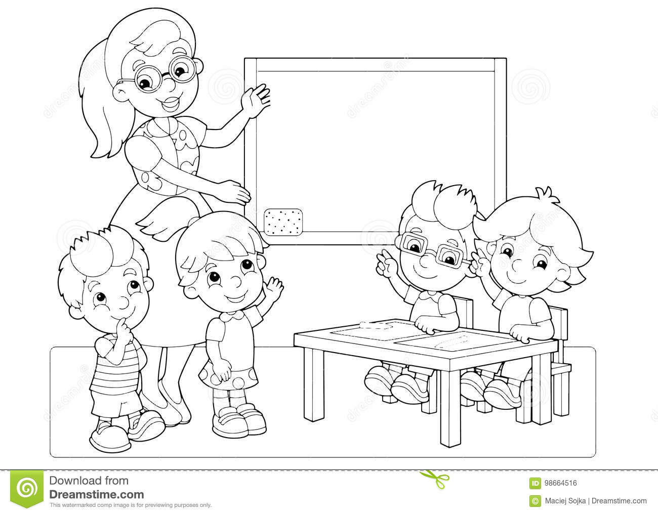 cartoon scene children teacher classroom holding hands up vector coloring page beautiful colorful illustration