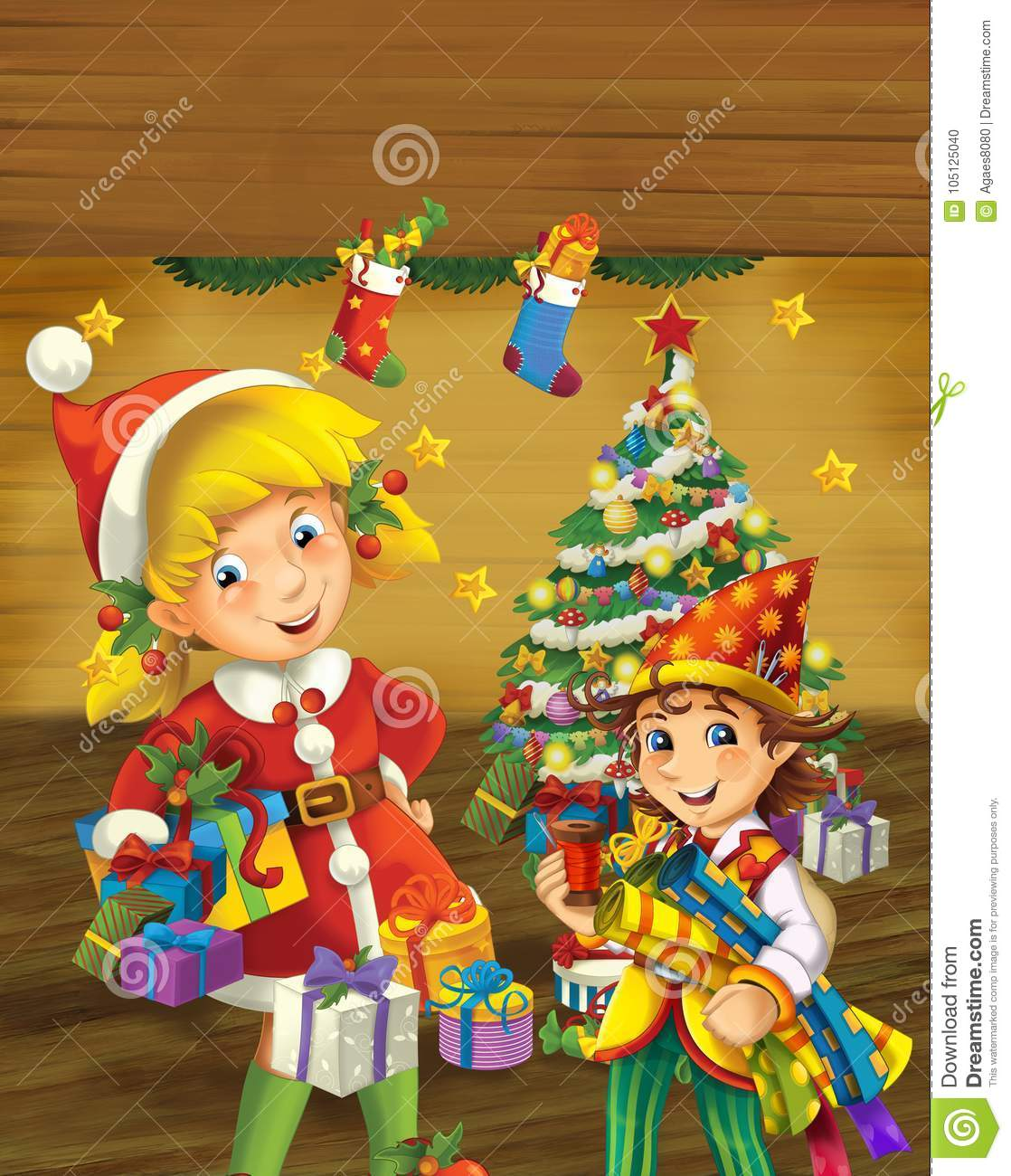 Cartoon scene with christmas elf standing near christmas tree