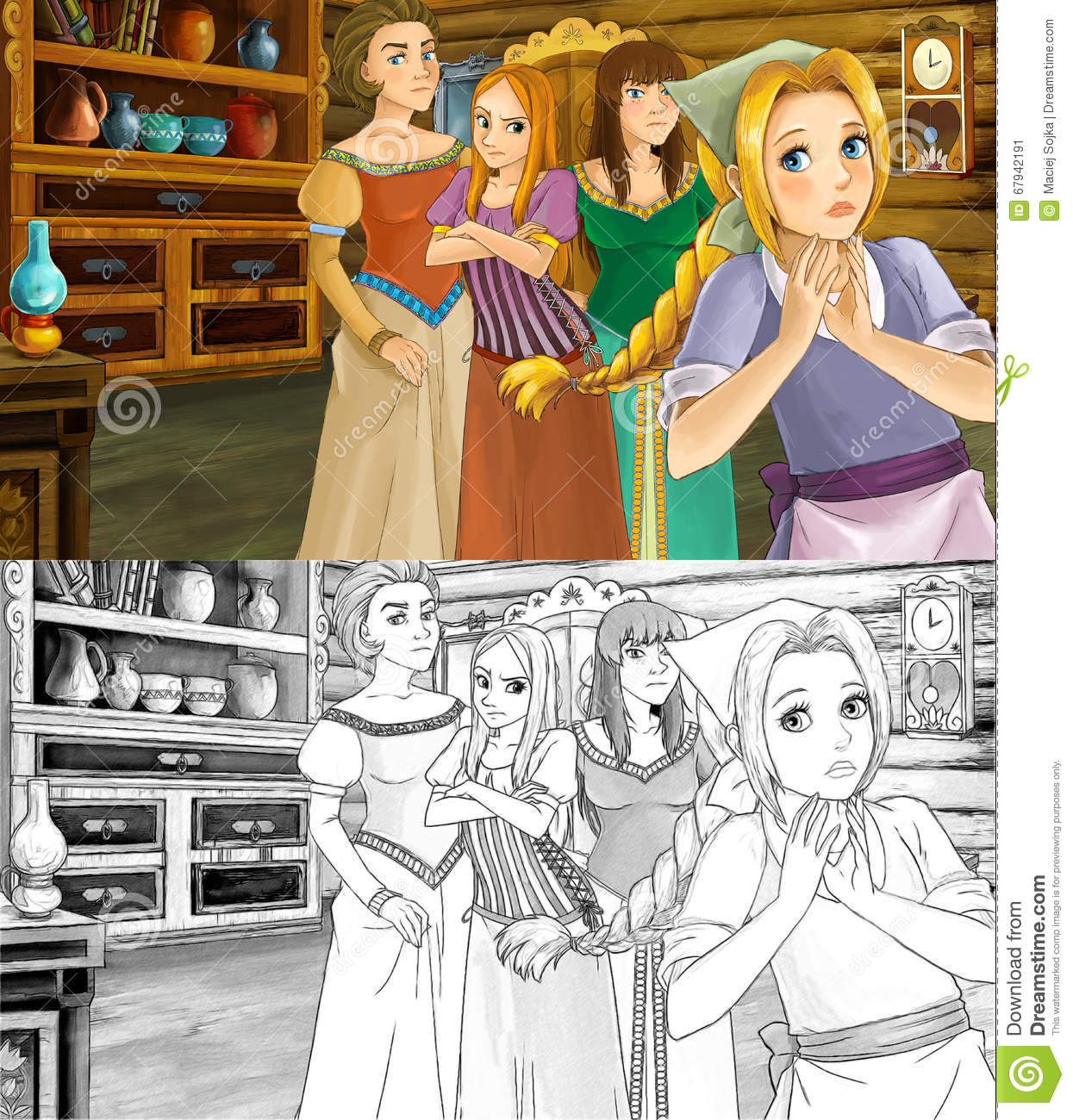 Cartoon Scene For Different Fairy Tales Two Sisters Are