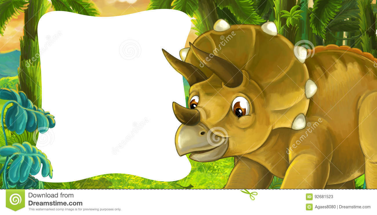 cartoon scene with dinosaur triceratops smiling and looking with
