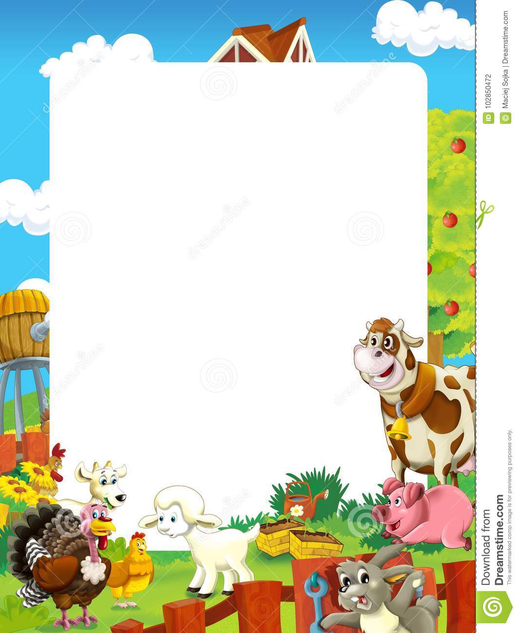 Cartoon Scene With Farm Animals - Frame For Different Usage Stock ...