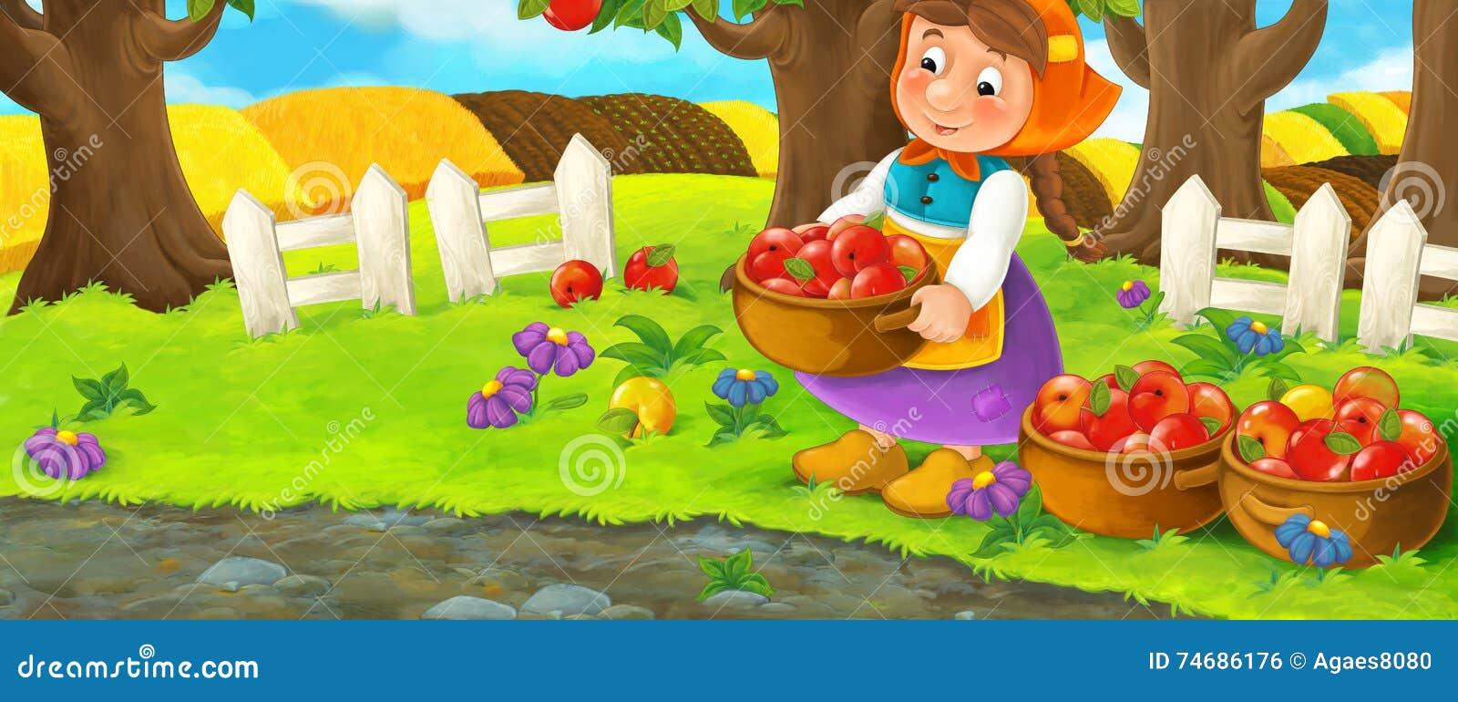 Beautiful garden cartoon - Cartoon Scene With Farm Woman In Garden During Beautiful Day Working Gathering Apples
