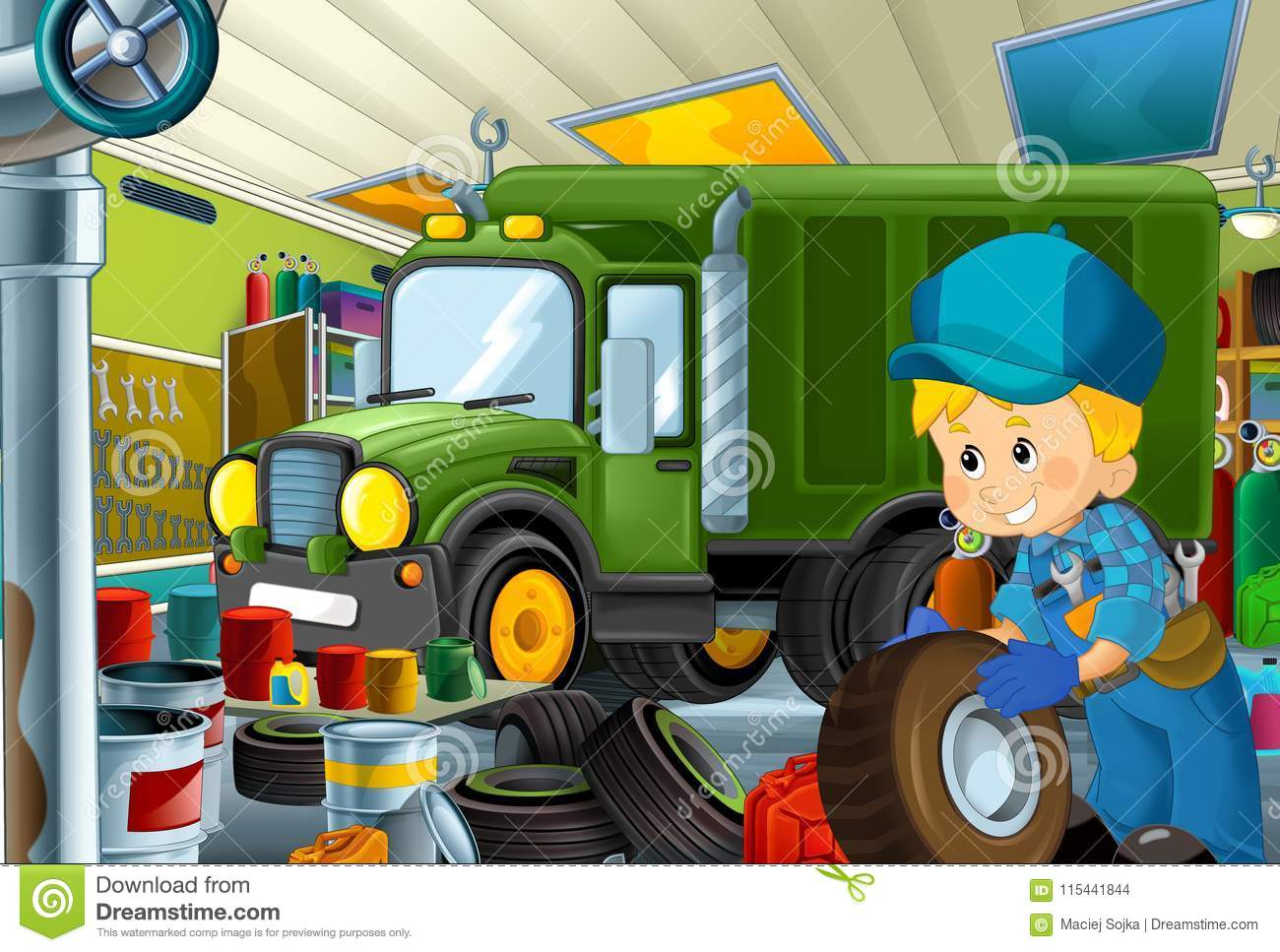 Cartoon scene with garage mechanic working repairing some vehicle - military car - or cleaning work place