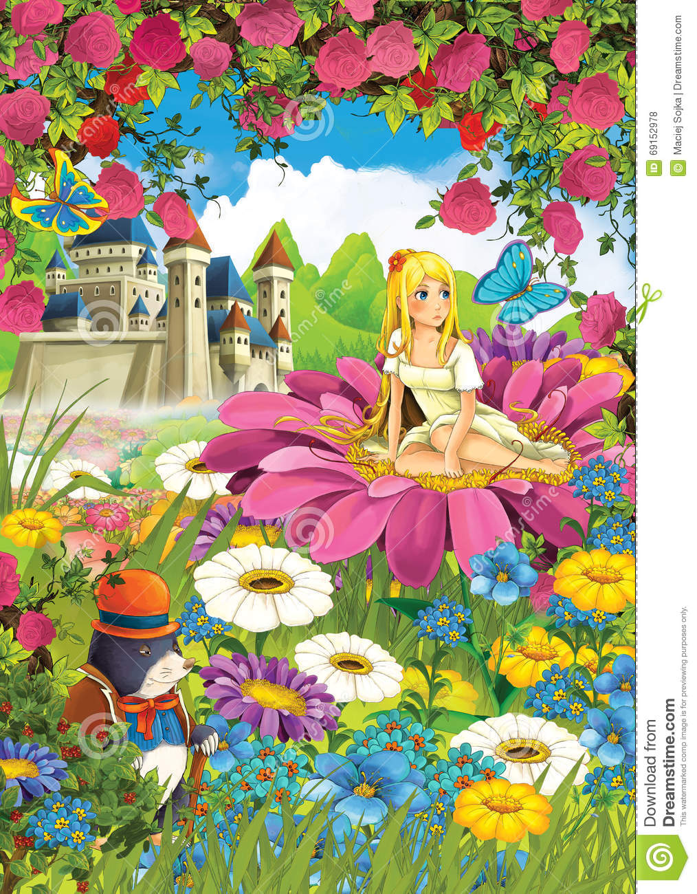 Cartoon scene of a girl on the flower with animal friends rodents cartoon scene of a girl on the flower with animal friends rodents izmirmasajfo Gallery