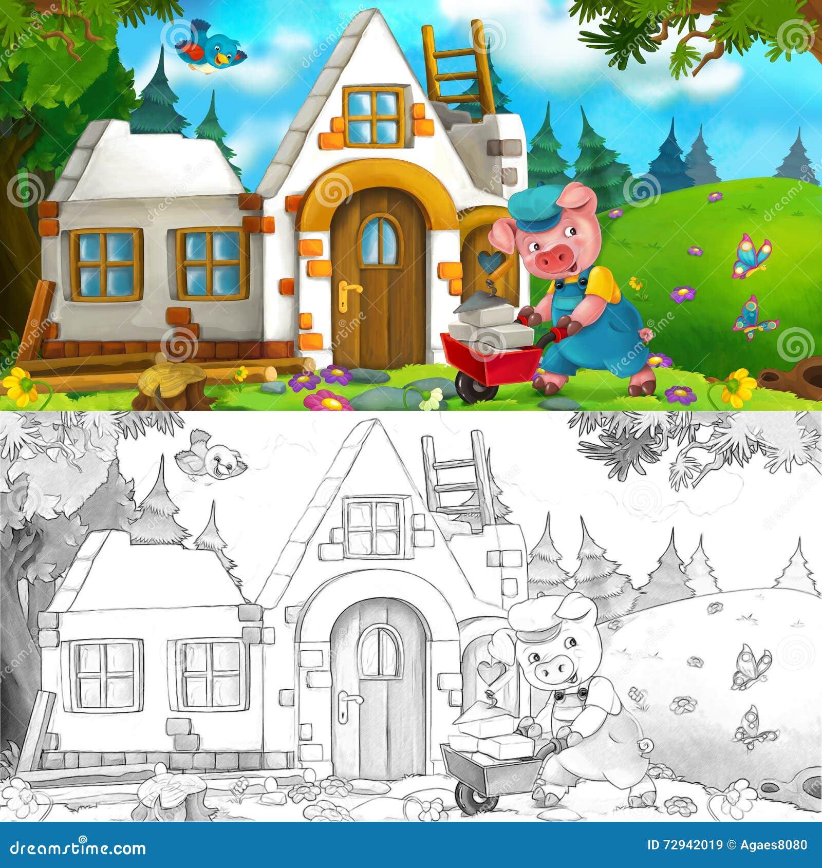 Download Cartoon Scene Of Hard Working Pig