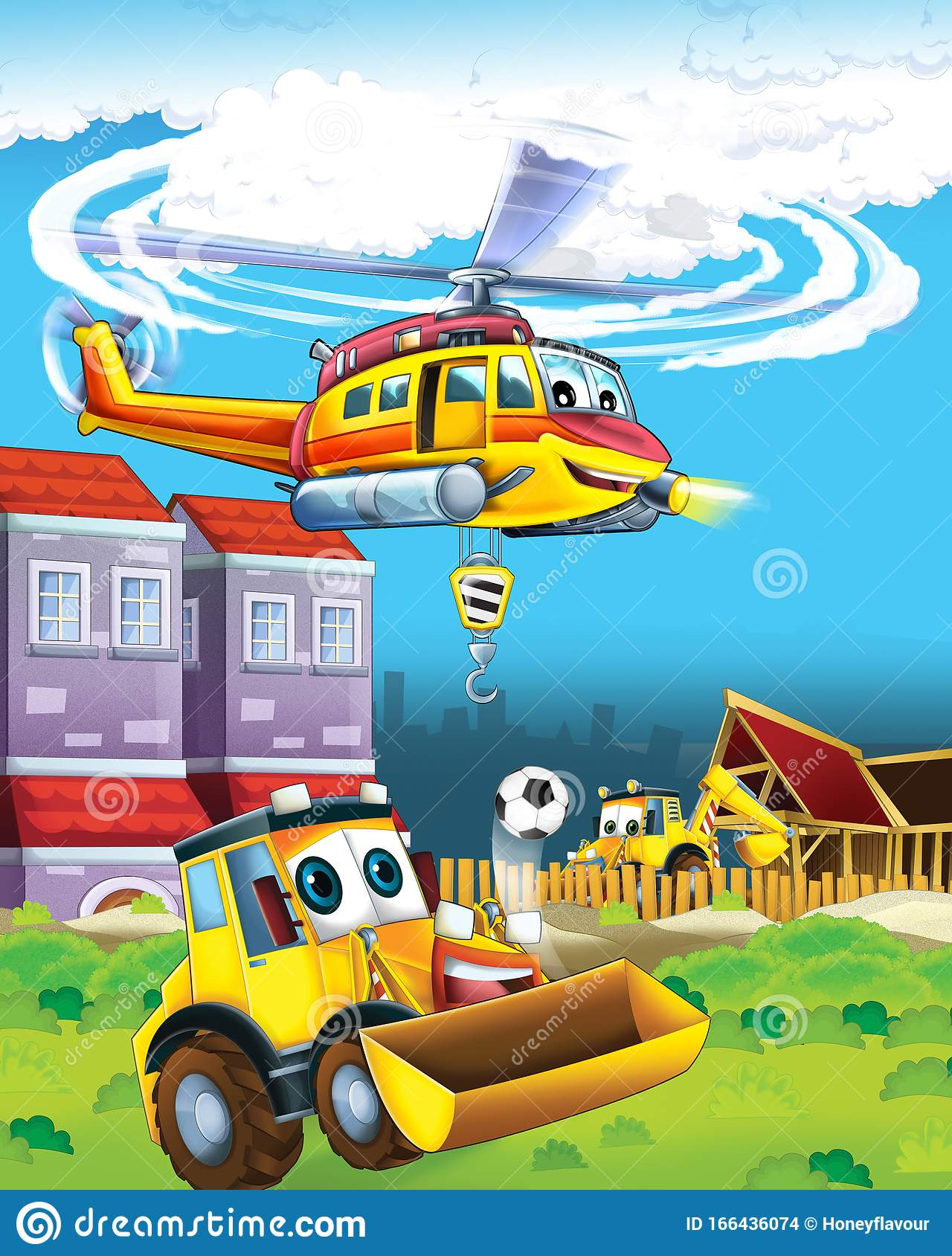 Cartoon Scene With Industry Cars On Construction Site And Flying Helicopter And Plane Illustration For Children Stock Illustration Illustration Of Journey Helicopter 166436074