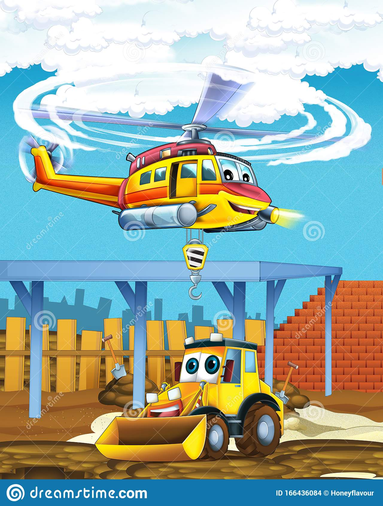 Cartoon Scene With Industry Cars On Construction Site And Flying Helicopter And Plane Illustration For Children Stock Illustration Illustration Of Driving Kids 166436084