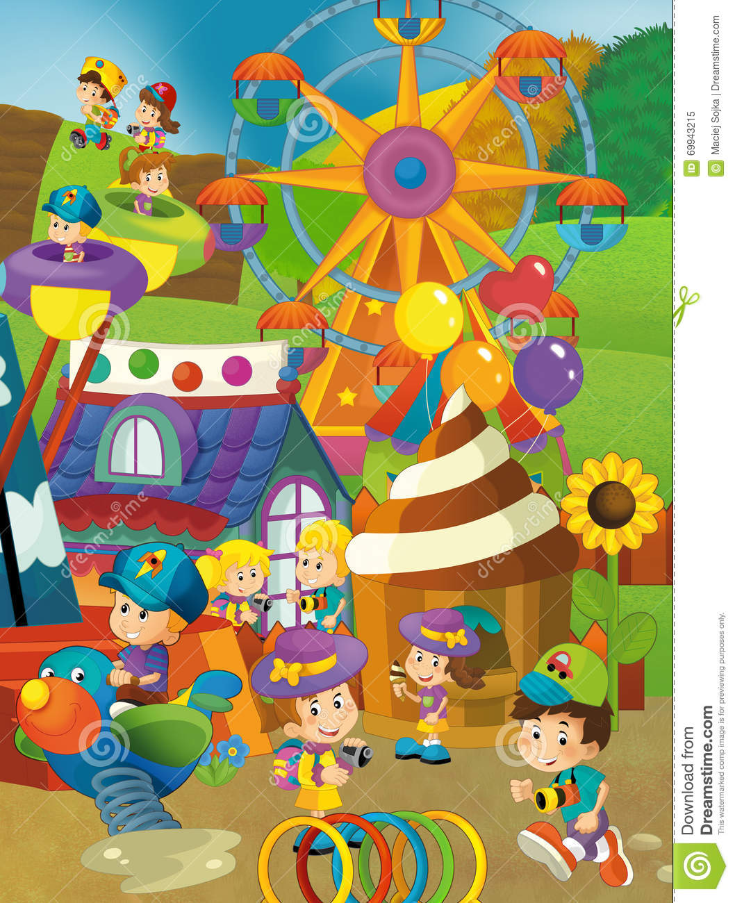 funfair scene Photo about happy and colorful traditional illustration for children illustration of  kindergarten, colorful, outdoors - 71165527.