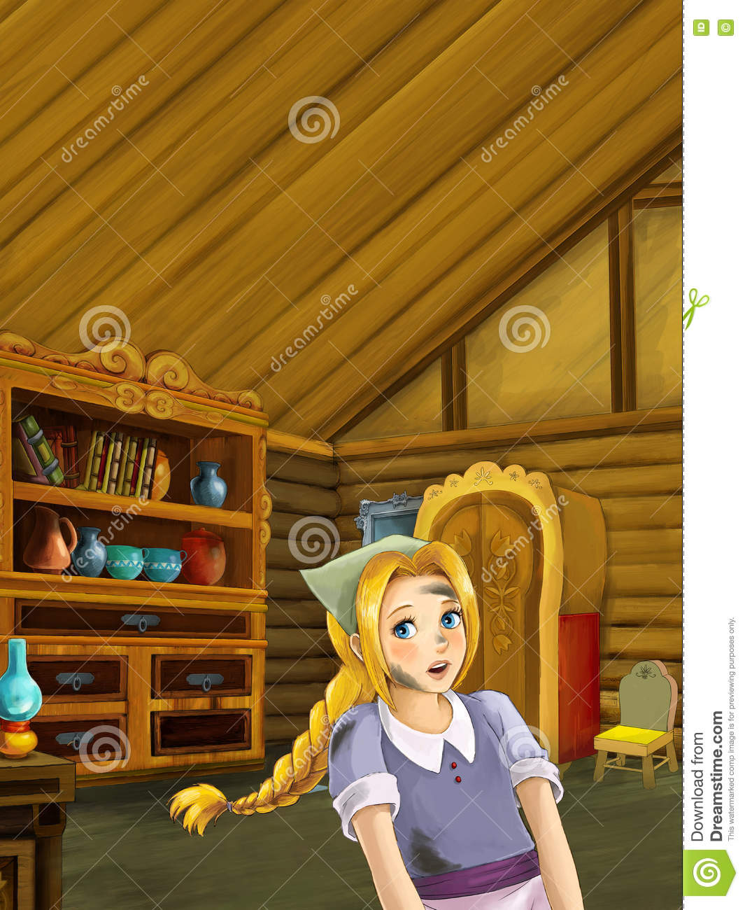Cartoon Of A Cook In The Kitchen Stock Illustration