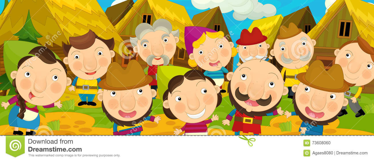 Cartoon scene in the old village - happy villagers altogether - background for different usage