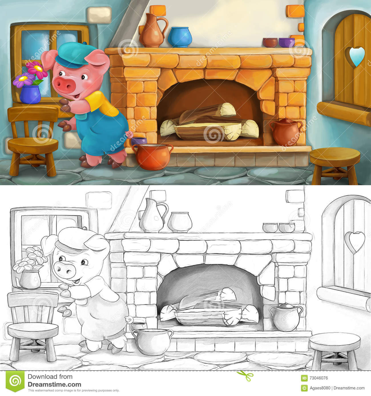 Cartoon Scene Of A Pig With A Child In The Kitchen - Coloring Page ...
