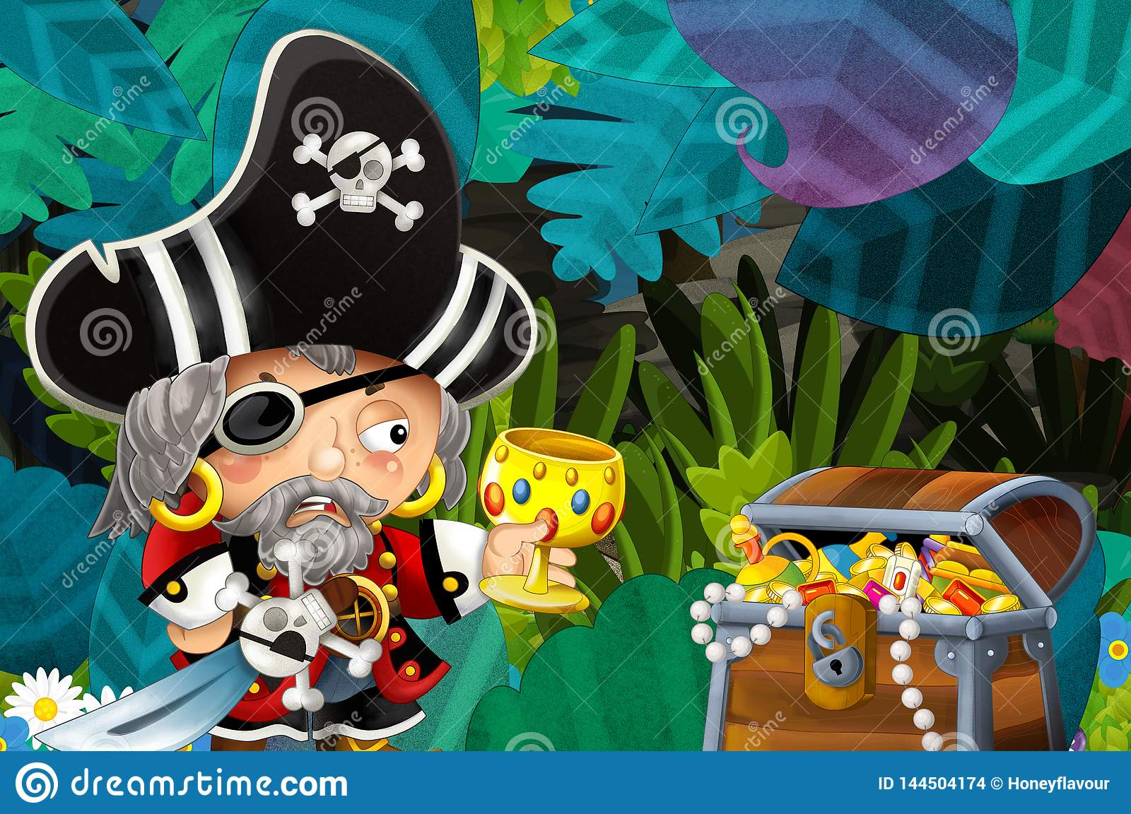 Cartoon Scene With Pirate In The Jungle Holding Royal Crown With Treasure Stock Illustration Illustration Of Exotic Design 144504174 The crown is simply a brilliant piece of television. dreamstime com