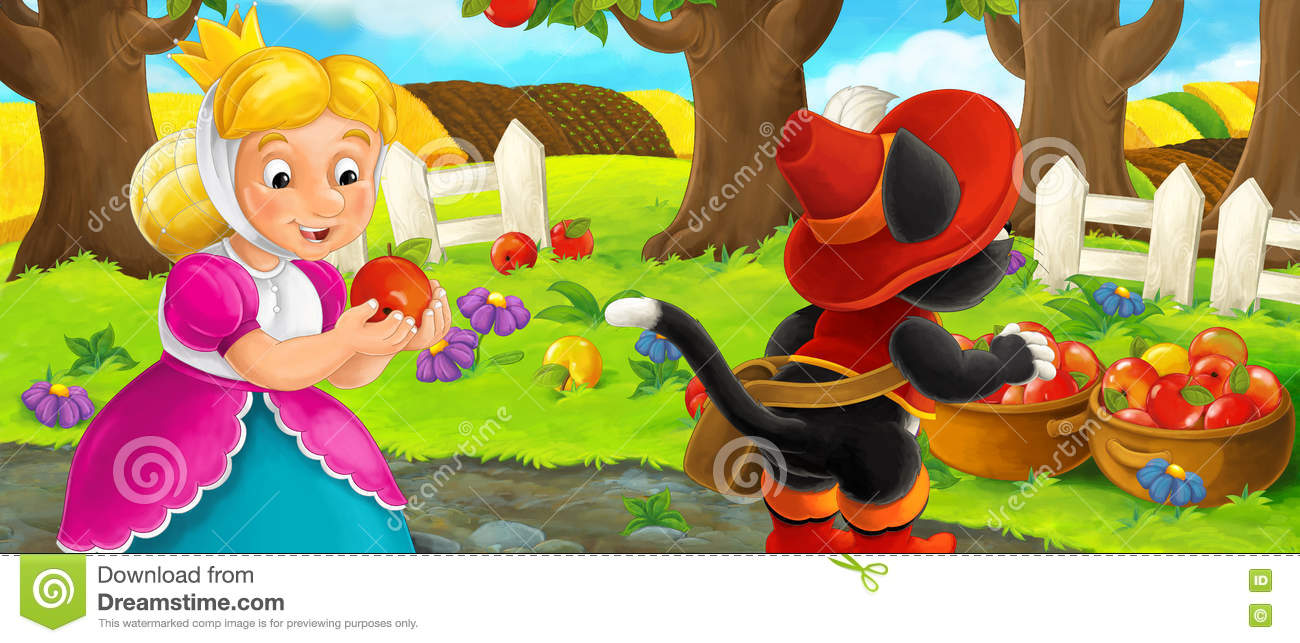 Beautiful garden cartoon - Cartoon Scene With Queen And Cat Traveler Visiting Apple Garden During Beautiful Day Royalty Free Stock