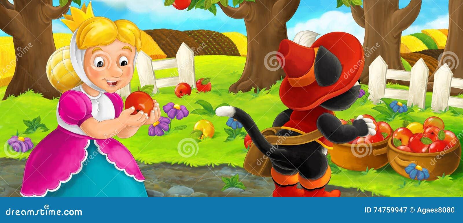 Beautiful garden cartoon - Cartoon Scene With Queen And Cat Traveler Visiting Apple Garden During Beautiful Day Stock Illustration