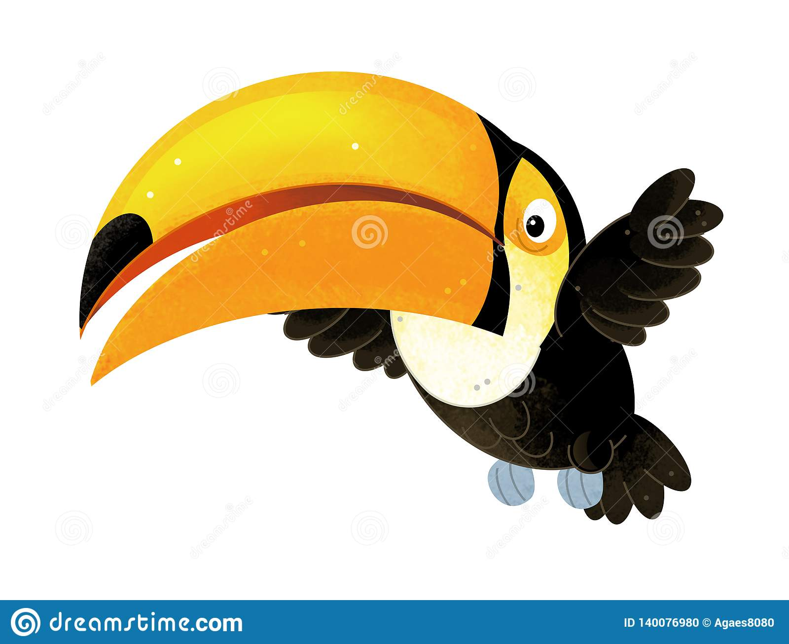 Cartoon scene with toucan on white background