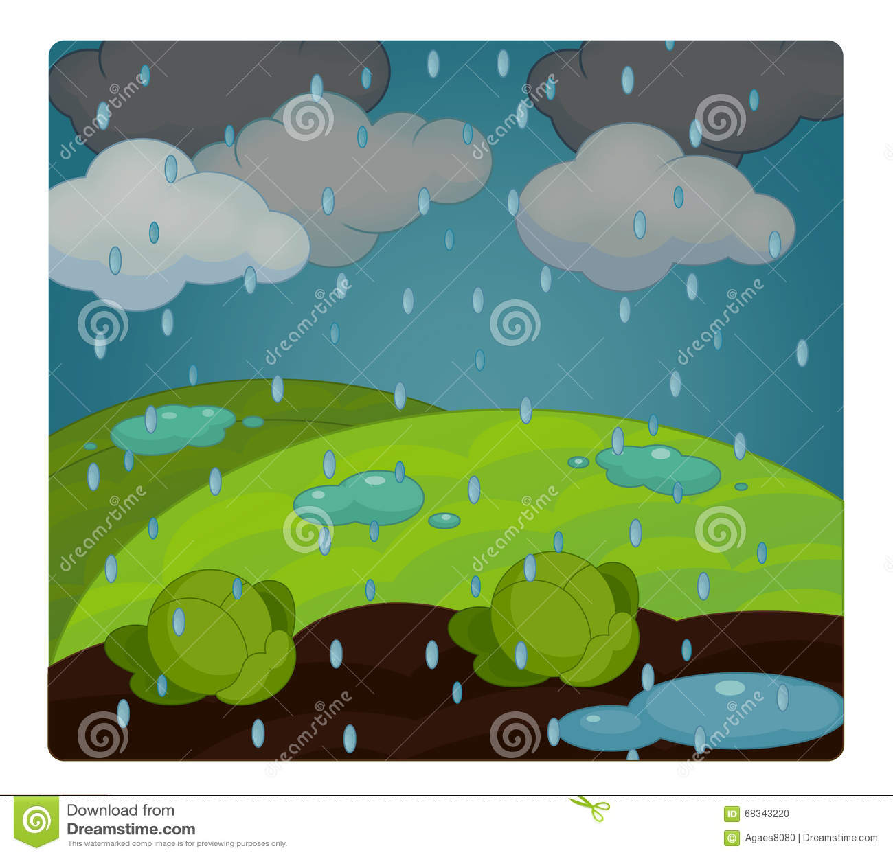 cartoon scene with weather rainy stormy stock illustration