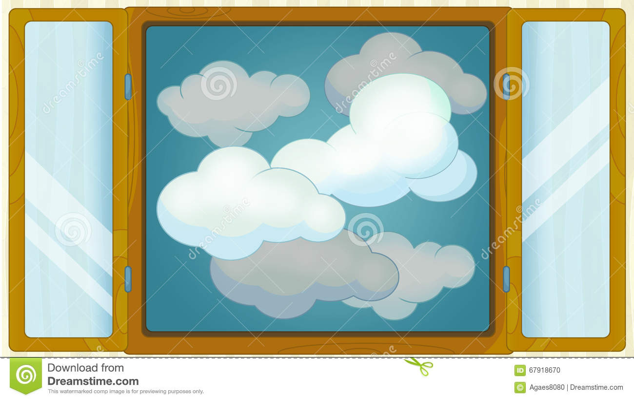 cartoon scene with weather in the window cloudy stock