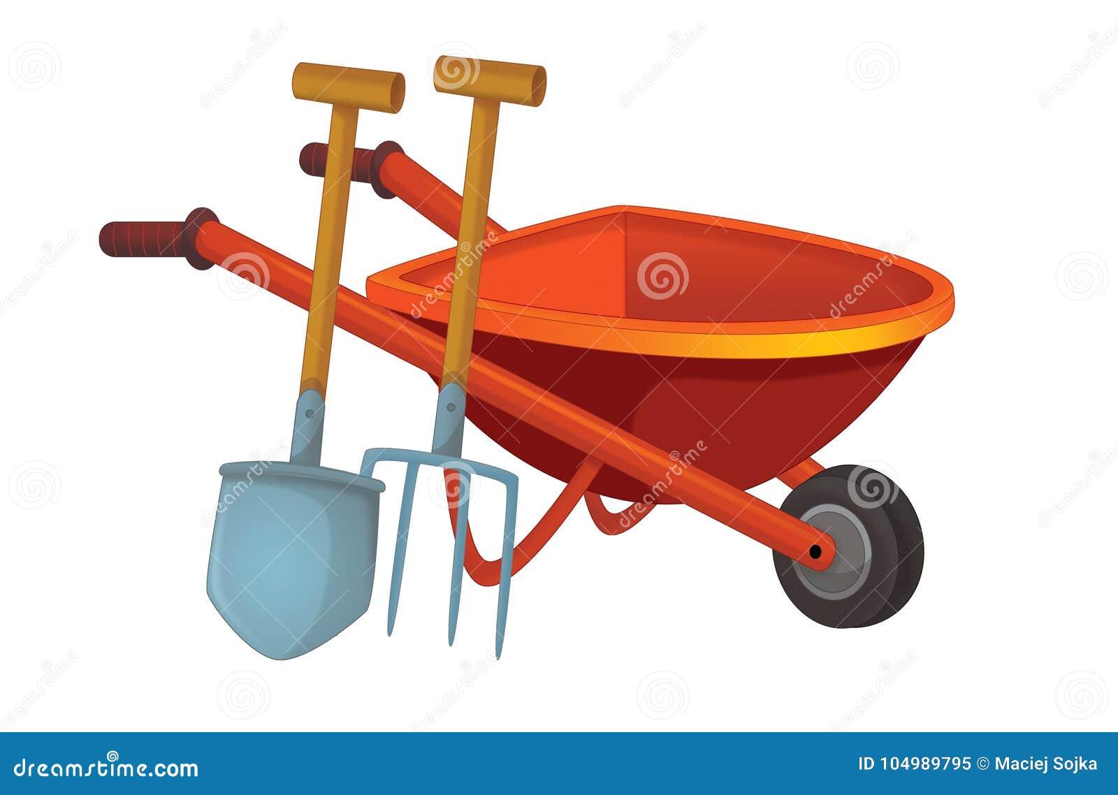 Cartoon scene with wheelbarrow with gardenin or farm tool