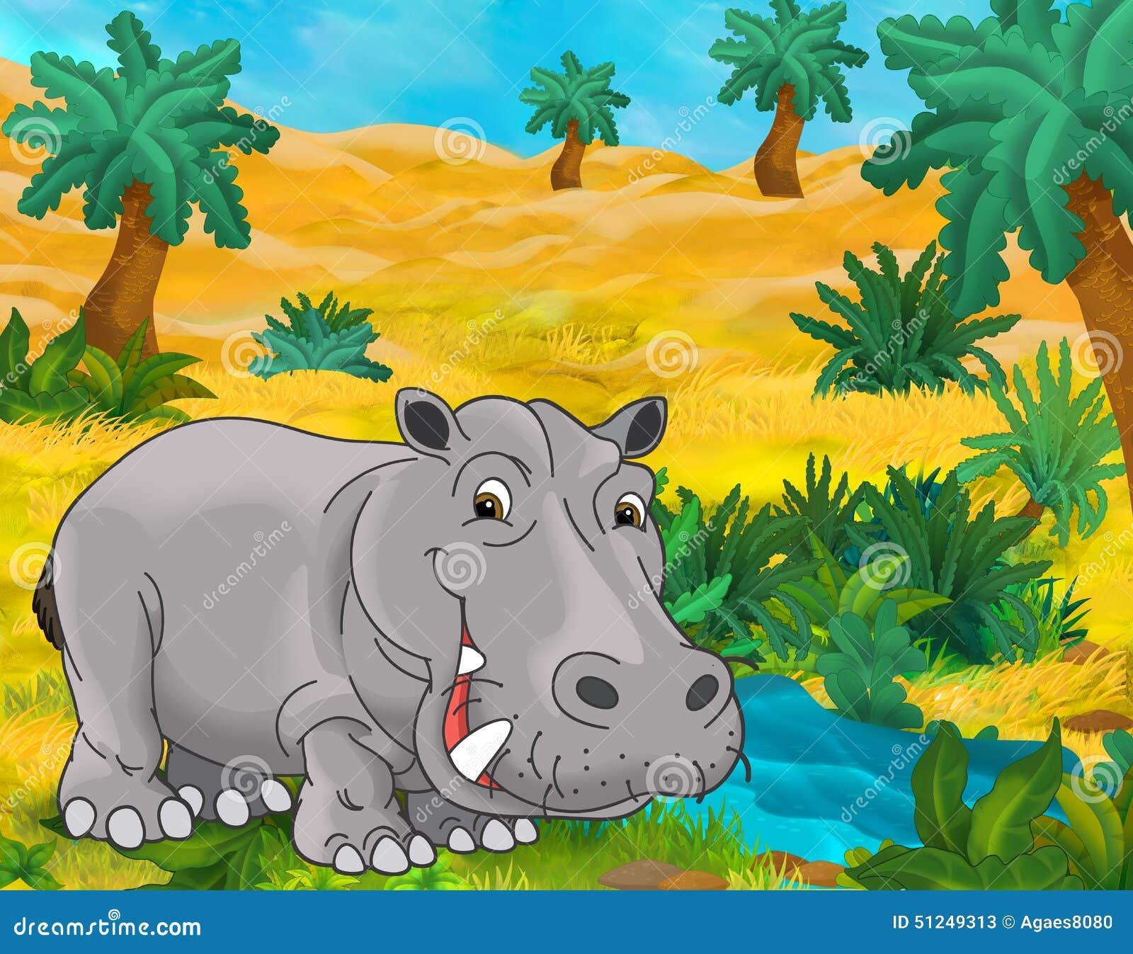 Cartoon Scene Wild Africa Animals Hippo Stock