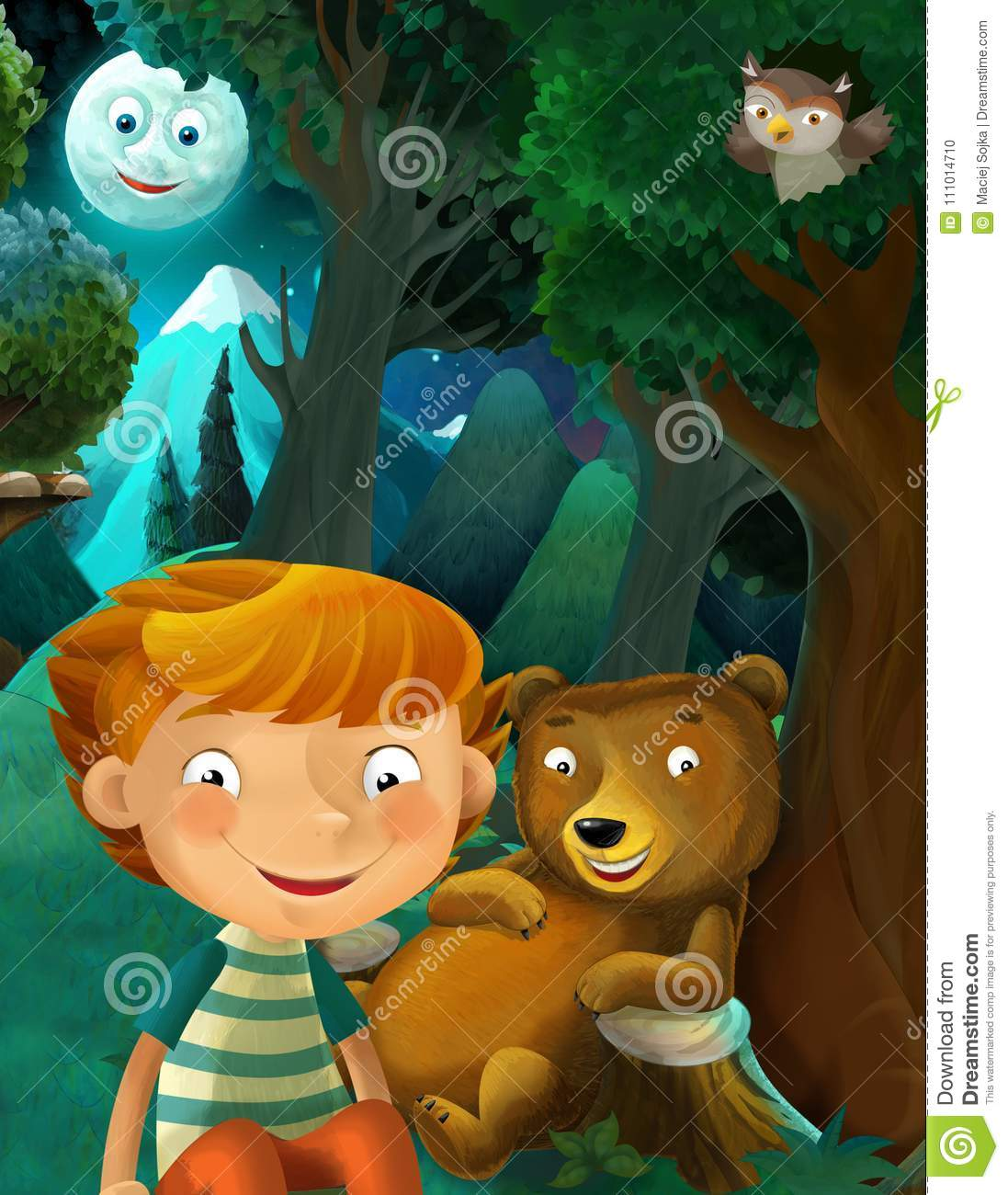 Cartoon scene with wild animals bear owl and boy resting in the forest