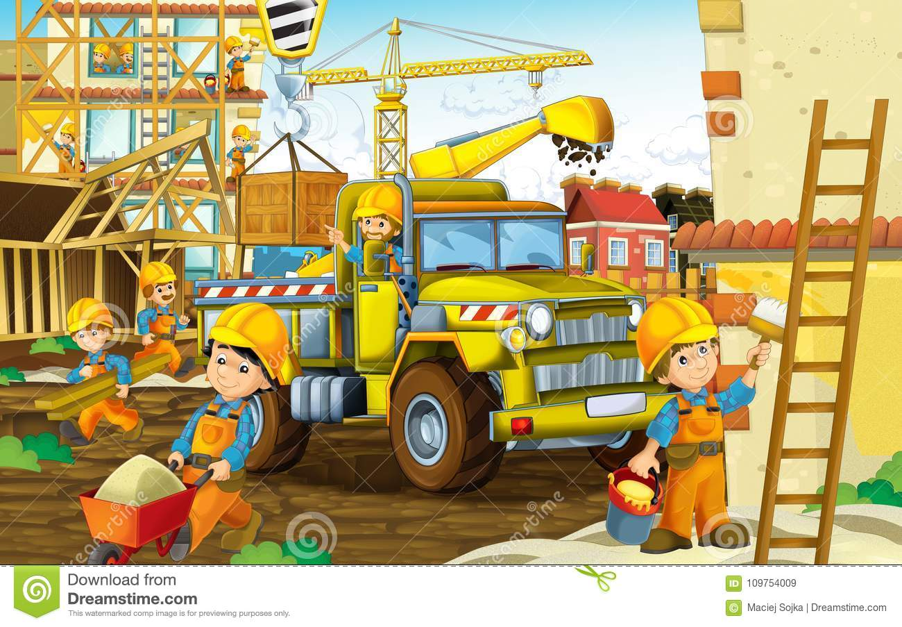 Cartoon Scene With Workers On Construction Site - Builders ...