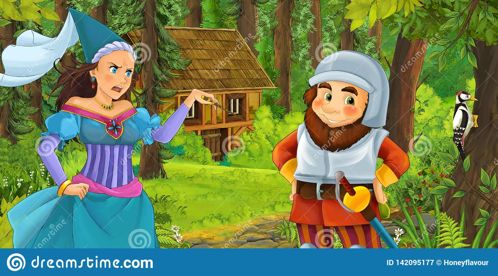 Cartoon scene with young dwarf prince traveling and encountering princess sorceress and hidden wooden house in the forest