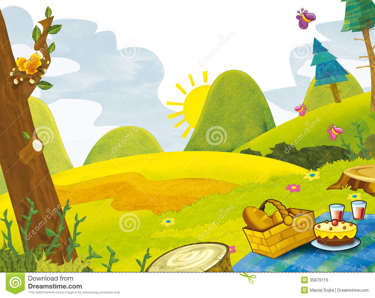 Cartoon Scenery Summer Illustration For The Children Royalty Free Stock Images Image 35879119