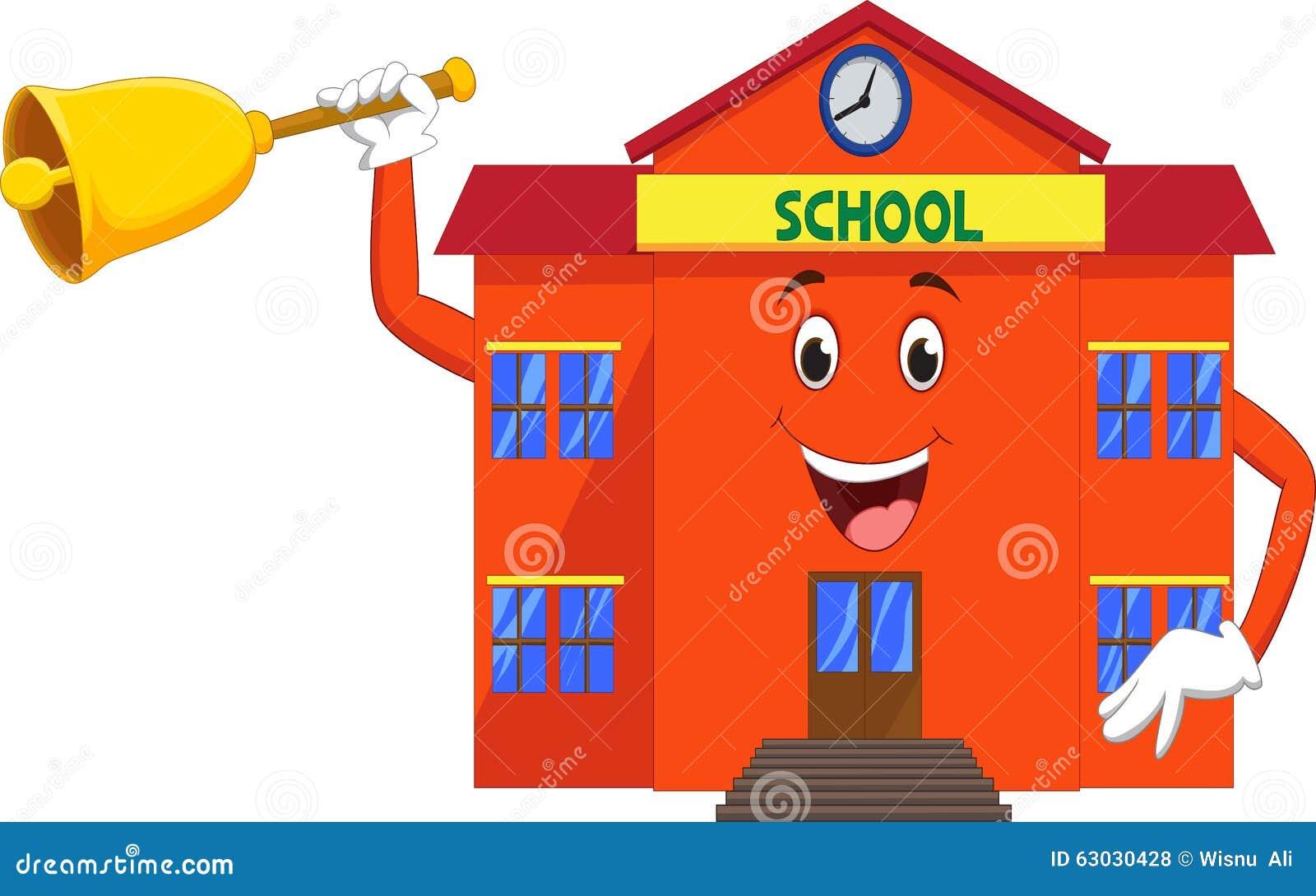 Cartoon school with bell in hand