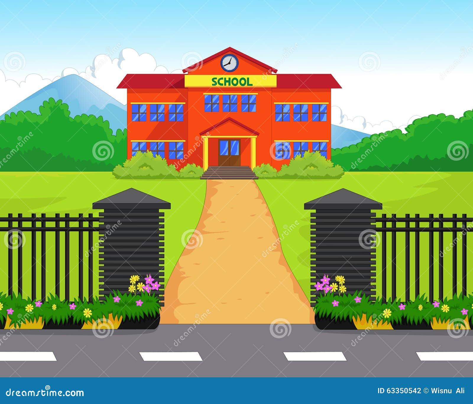 Cartoon School Building With Green Yard Stock Vector - Image: 63350542