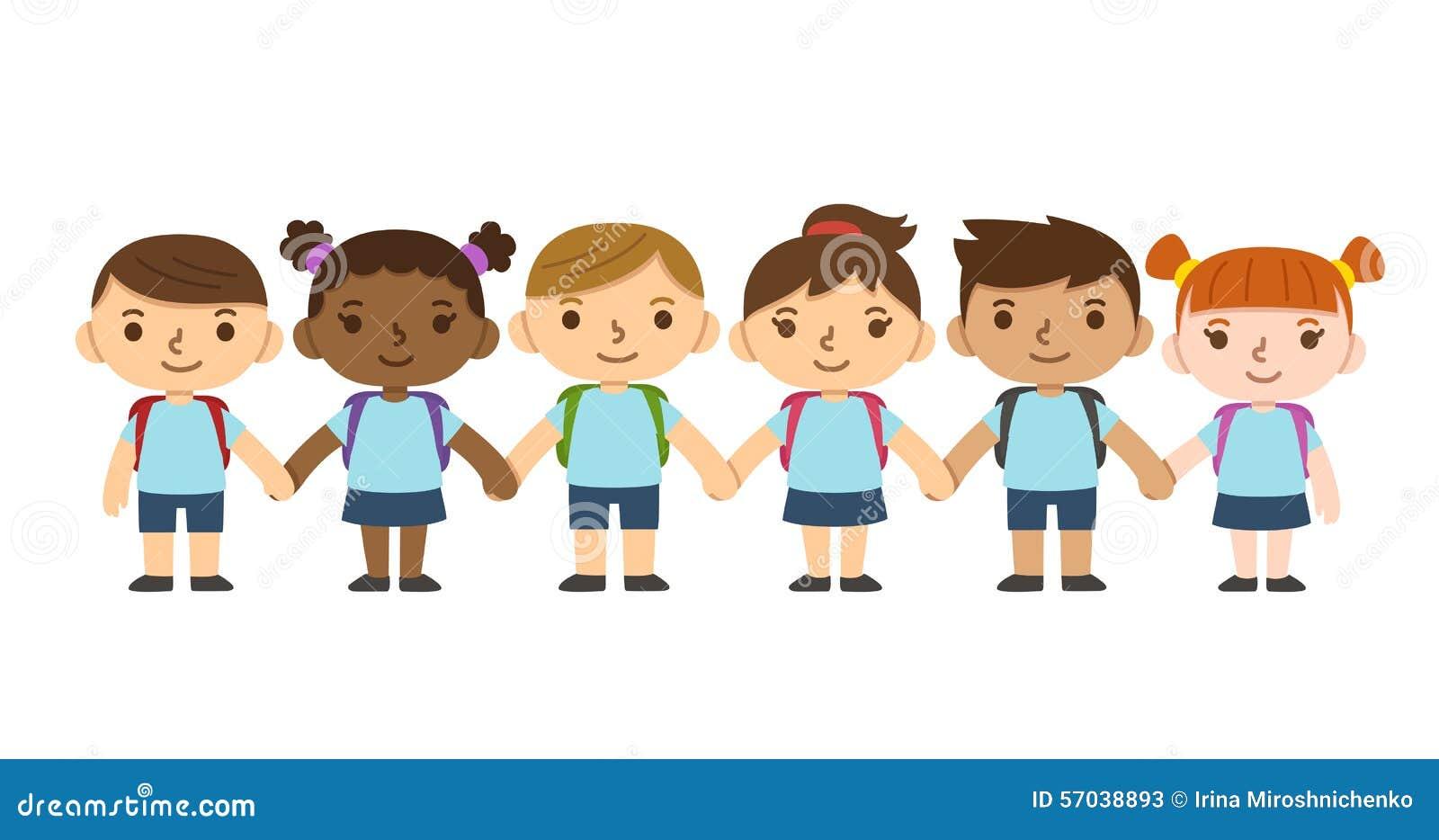 Cartoon School Children Stock Vector Illustration Of Flat