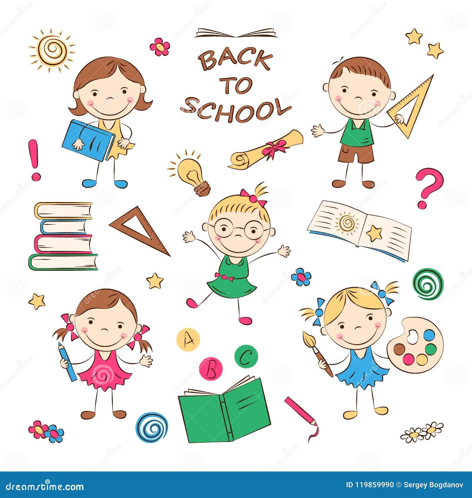 Cartoon School Kids Stock Vector Illustration Of Learning 119859990