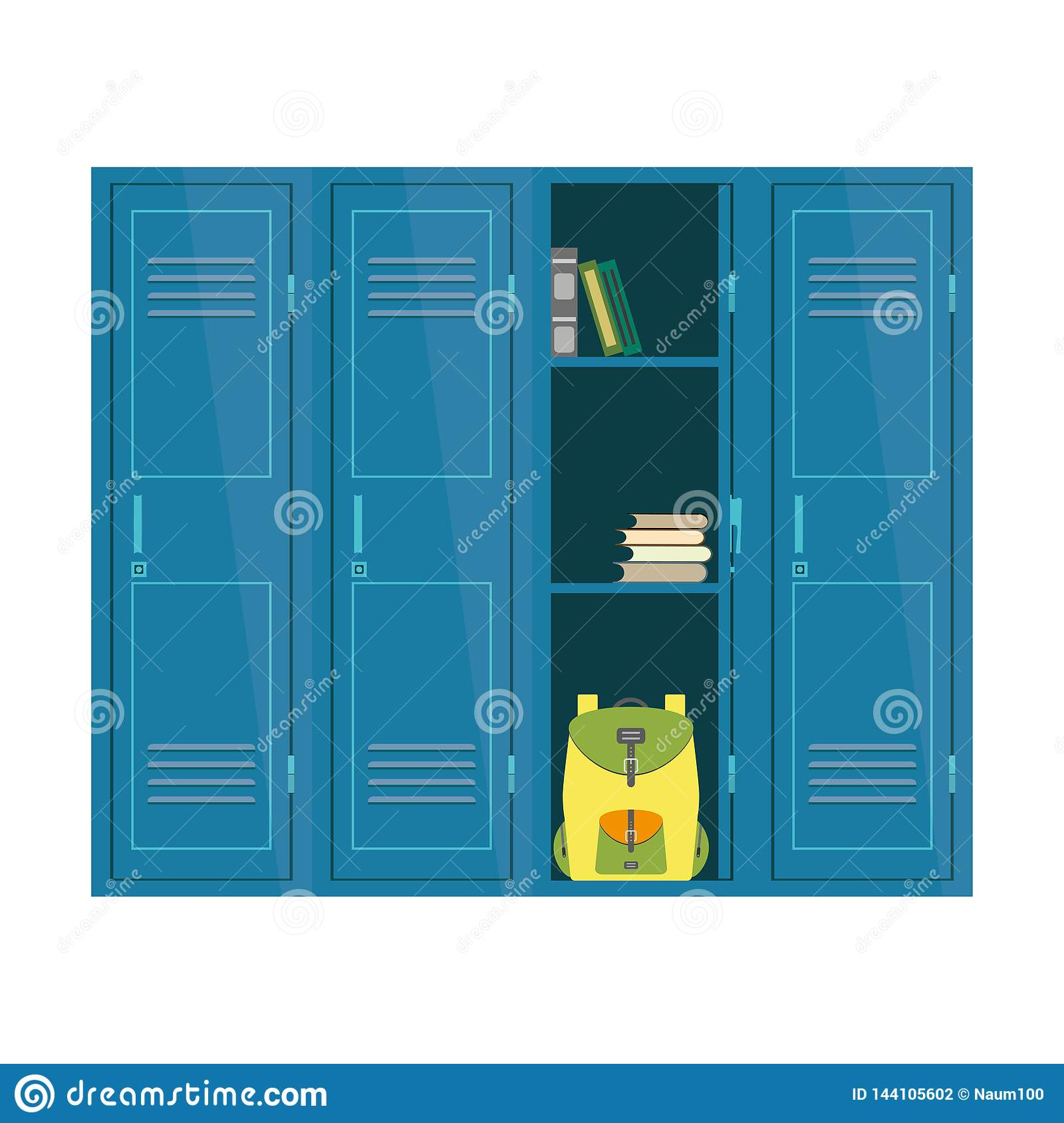 Cartoon School Lockers Student Furniture Isolated On White Backg Stock Vector Illustration Of Colorful Organisation 144105602