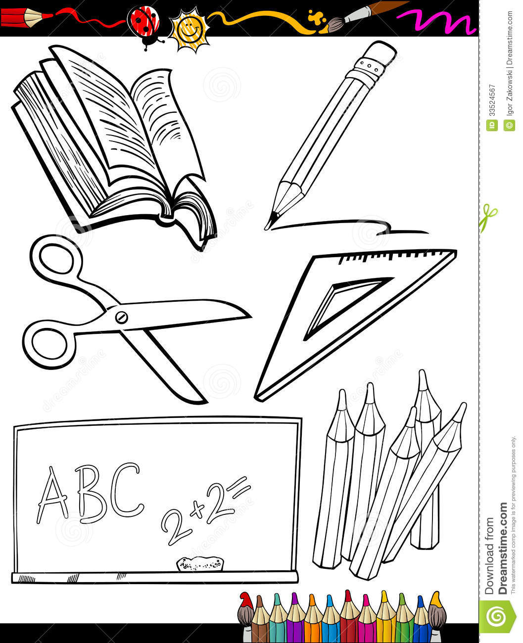 School Objects Coloring Pages #1
