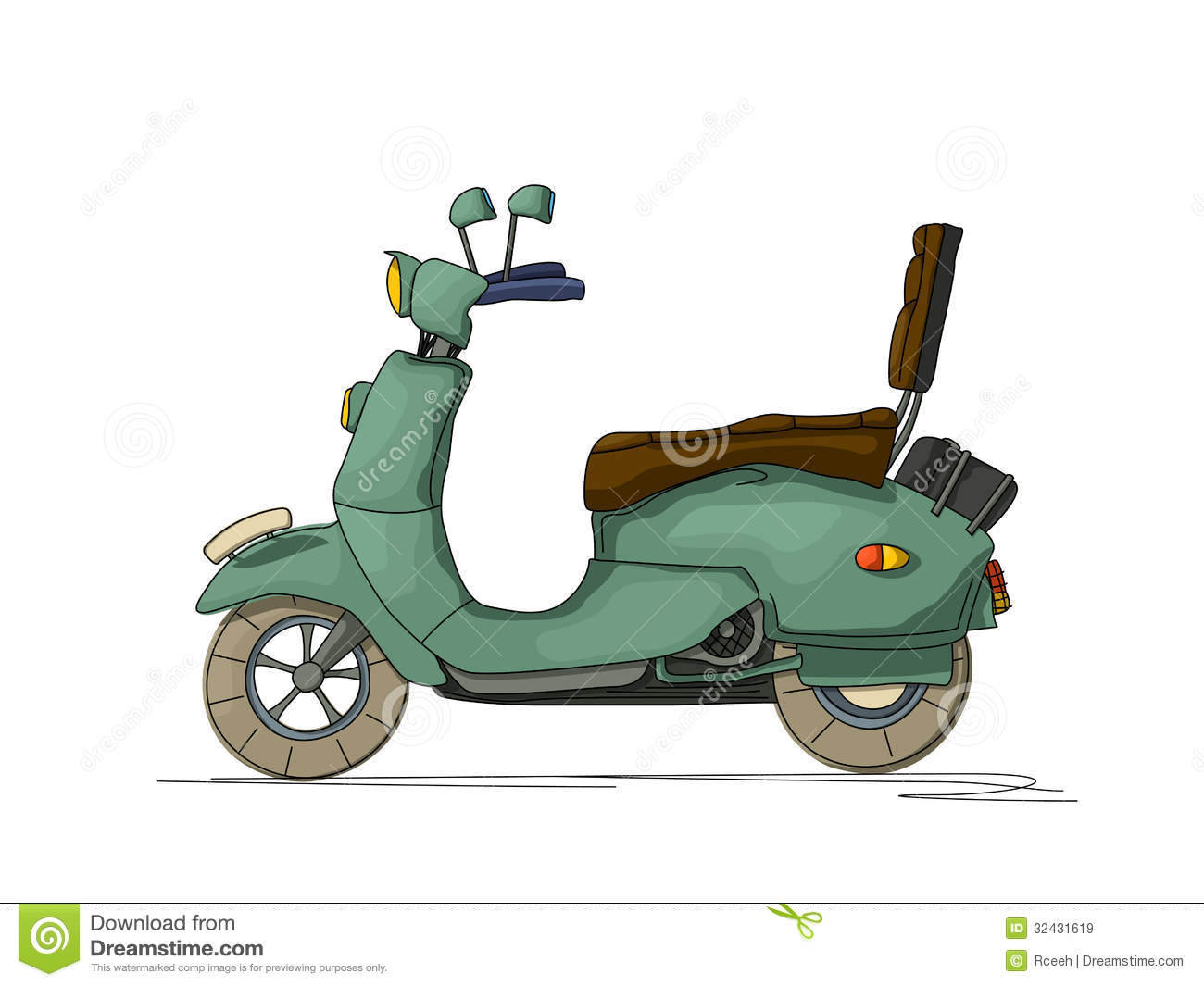 Cartoon style drawing of a retro scooter, isolated object on white ...