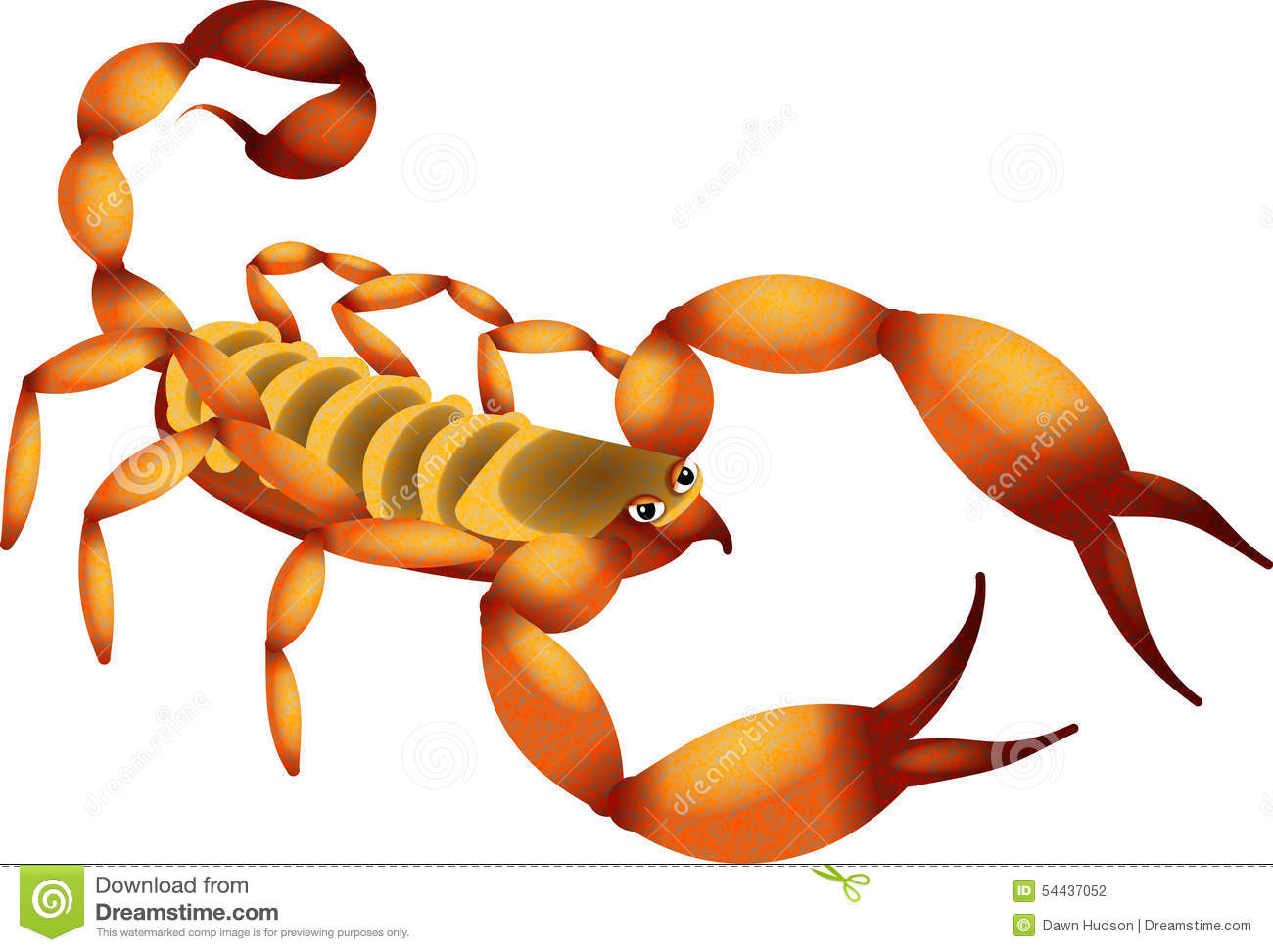 Illustration of a cartoon desert scorpion isolated on white.